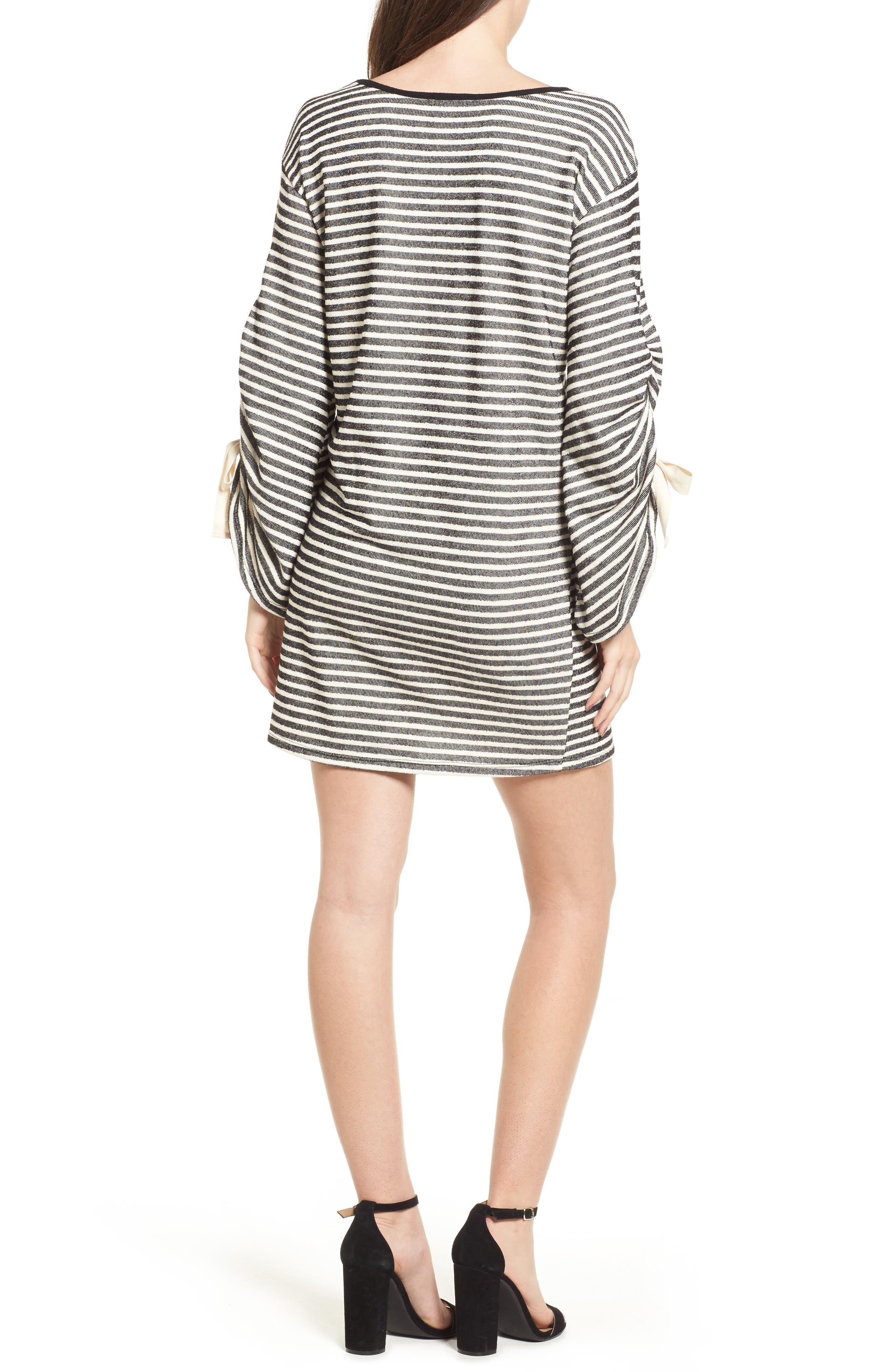 Tie Sleeve Sweatshirt Dress,                             Alternate thumbnail 2, color,                             Black/ Ivory