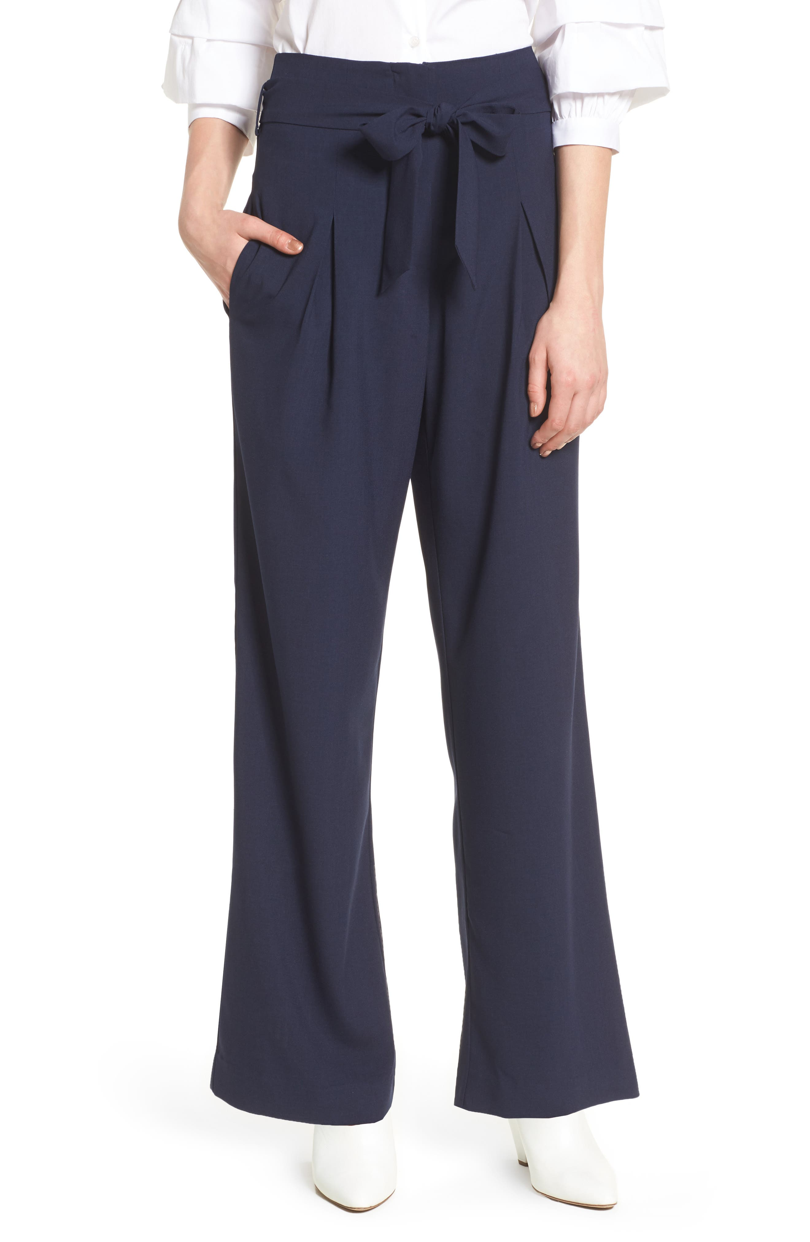Tie Front Pants,                         Main,                         color, Navy