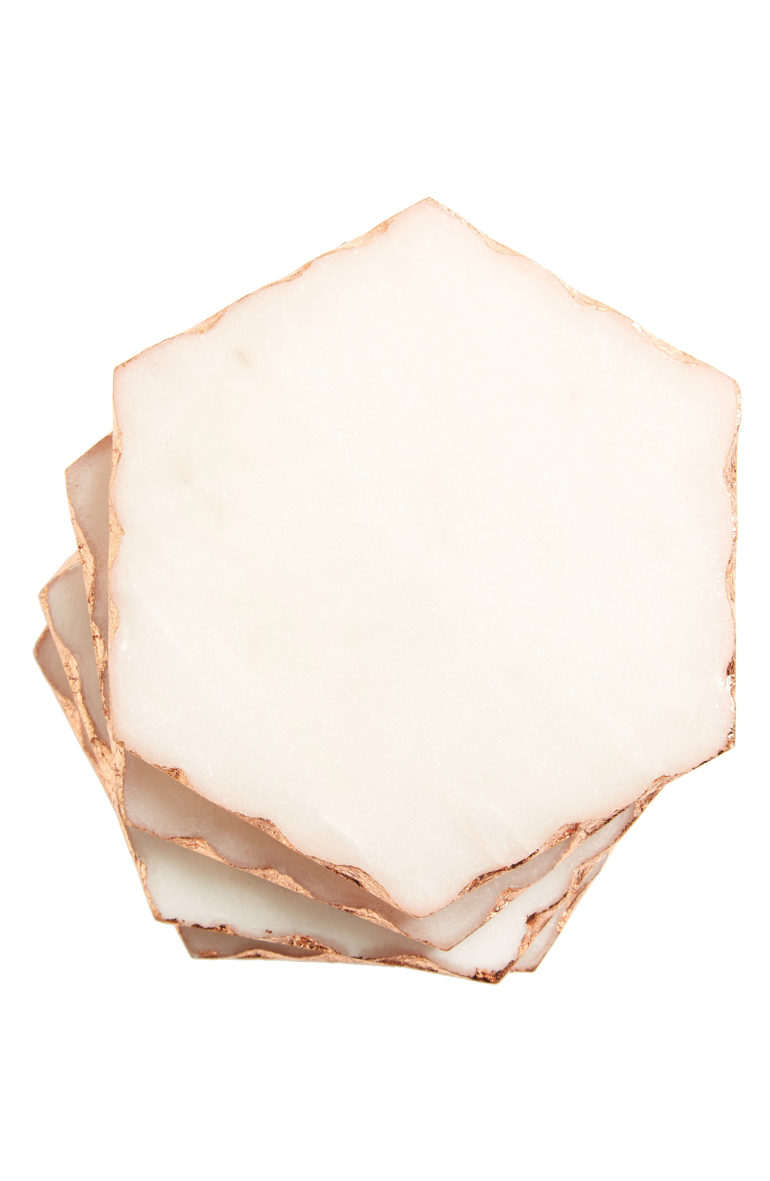 Hexagon Set of 4 Marble Coasters,                         Main,                         color, White/ Copper