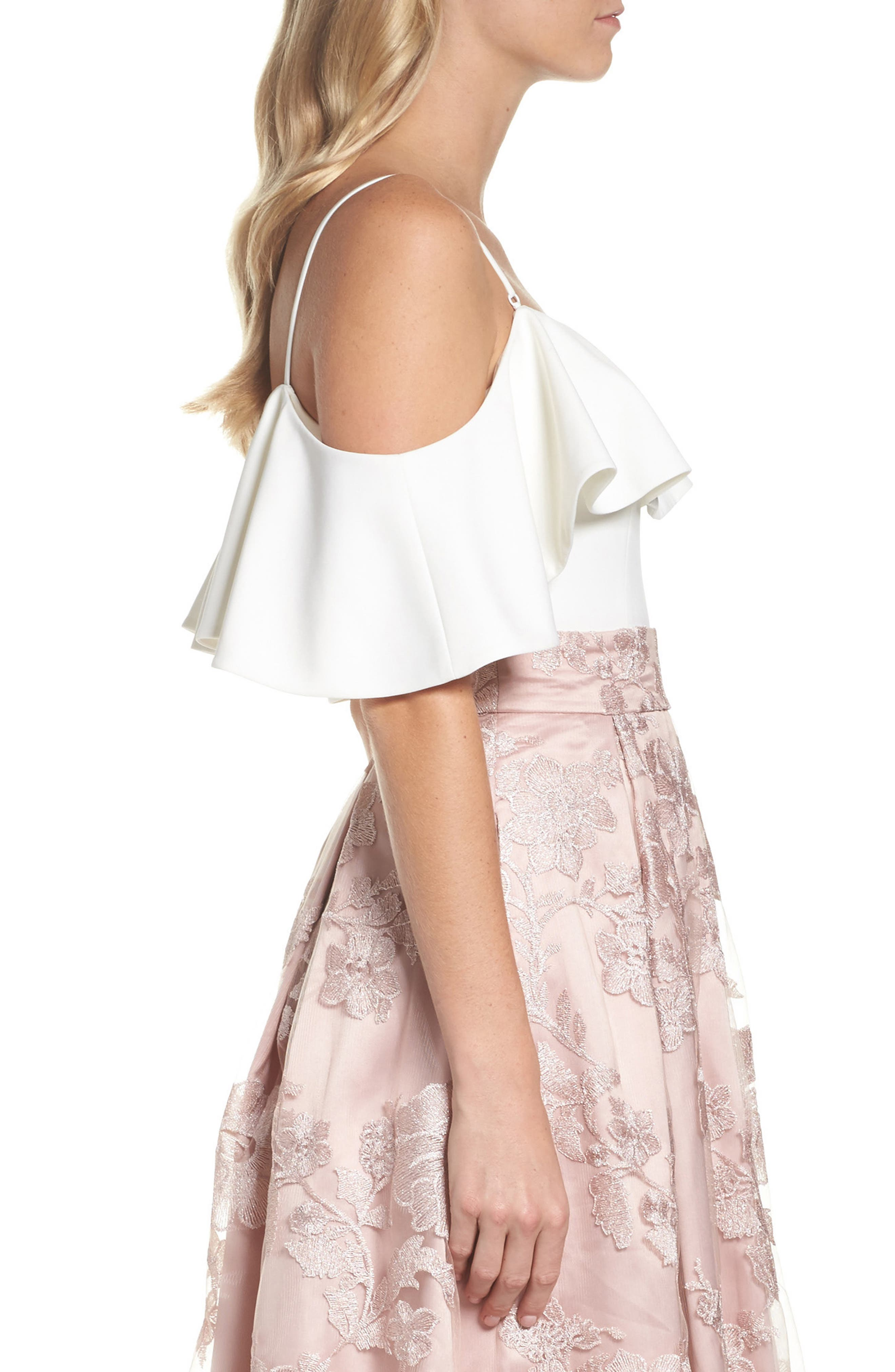 Ruffled Cold Shoulder Top,                             Alternate thumbnail 3, color,                             Ivory