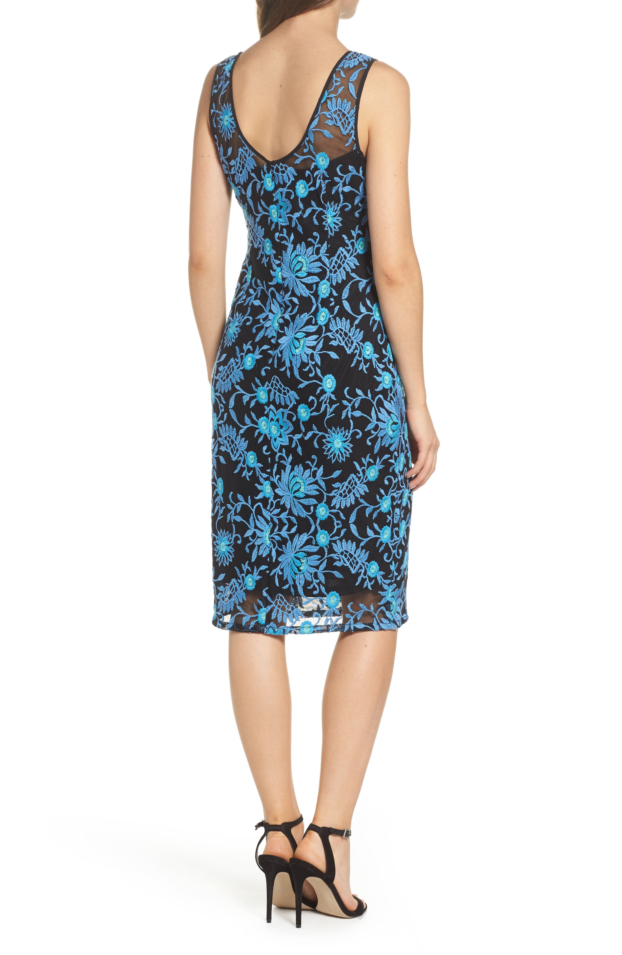 Embroidered Sheath Dress,                             Alternate thumbnail 2, color,                             Nile Multi