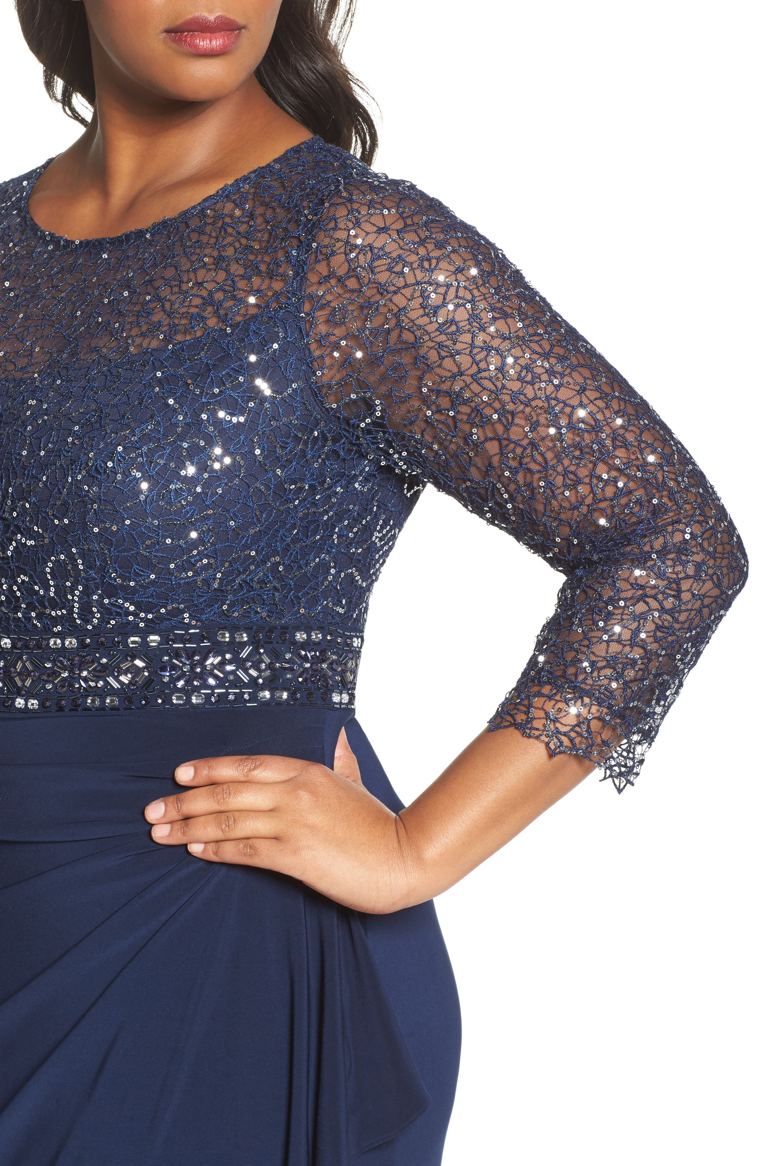 Lace & Jersey Gown,                             Alternate thumbnail 4, color,                             Navy