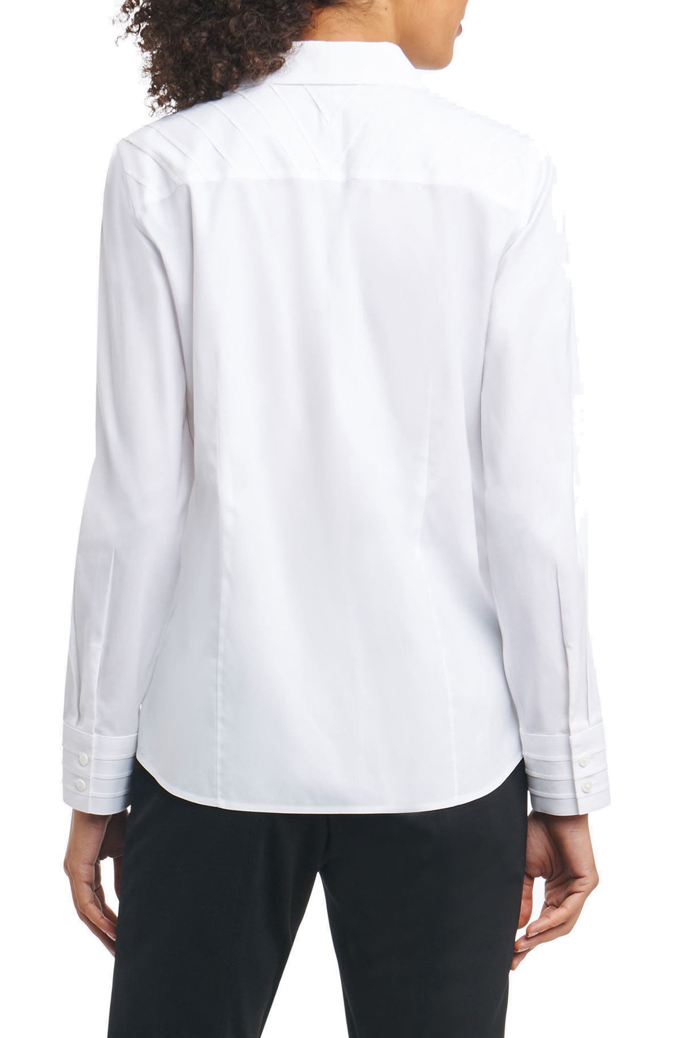 Rita in Solid Stretch Button Down Shirt,                             Alternate thumbnail 2, color,                             White