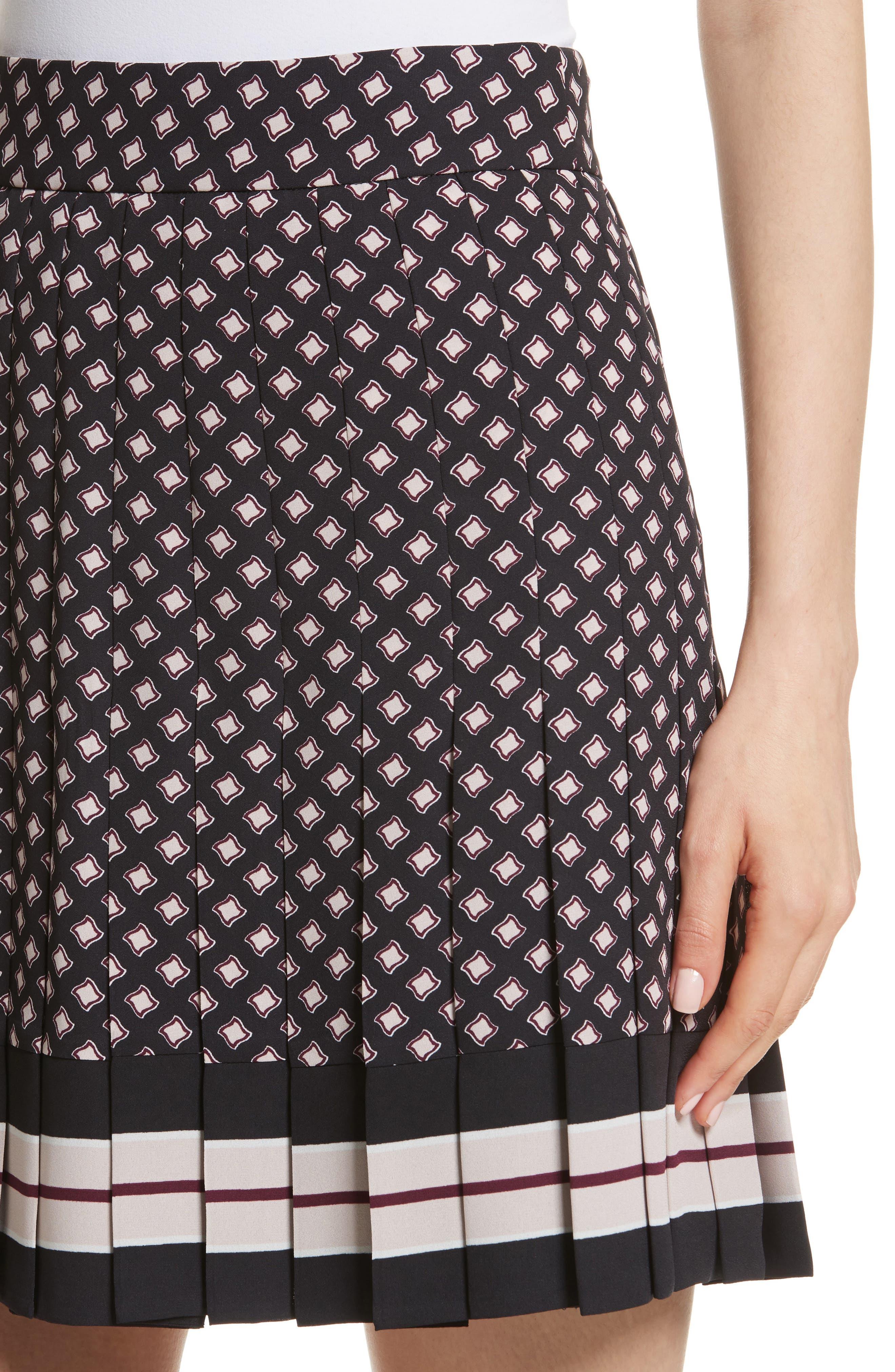 pleated skirt,                             Alternate thumbnail 4, color,                             Black