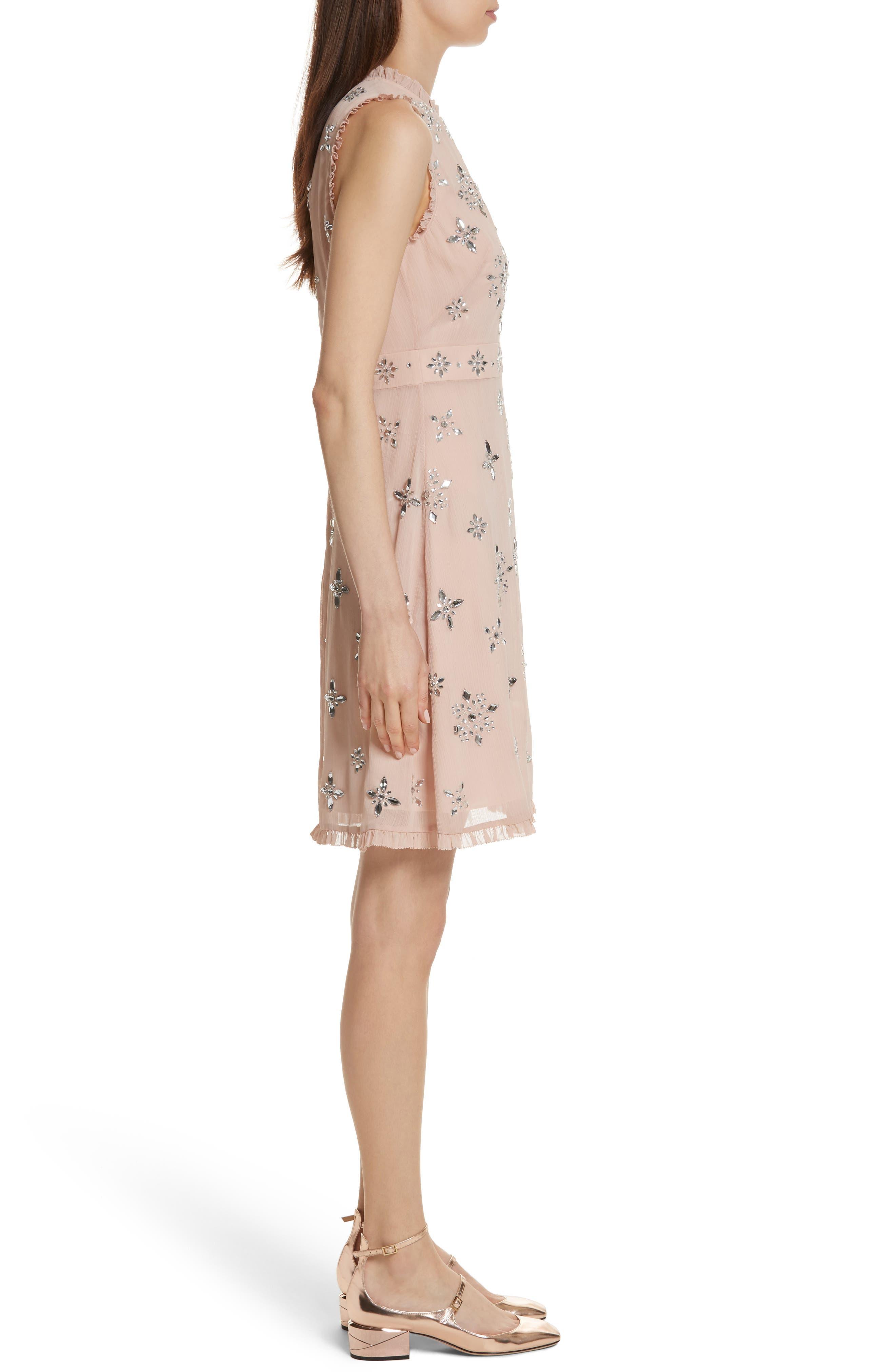 solani embellished chiffon dress,                             Alternate thumbnail 3, color,                             Amaretto