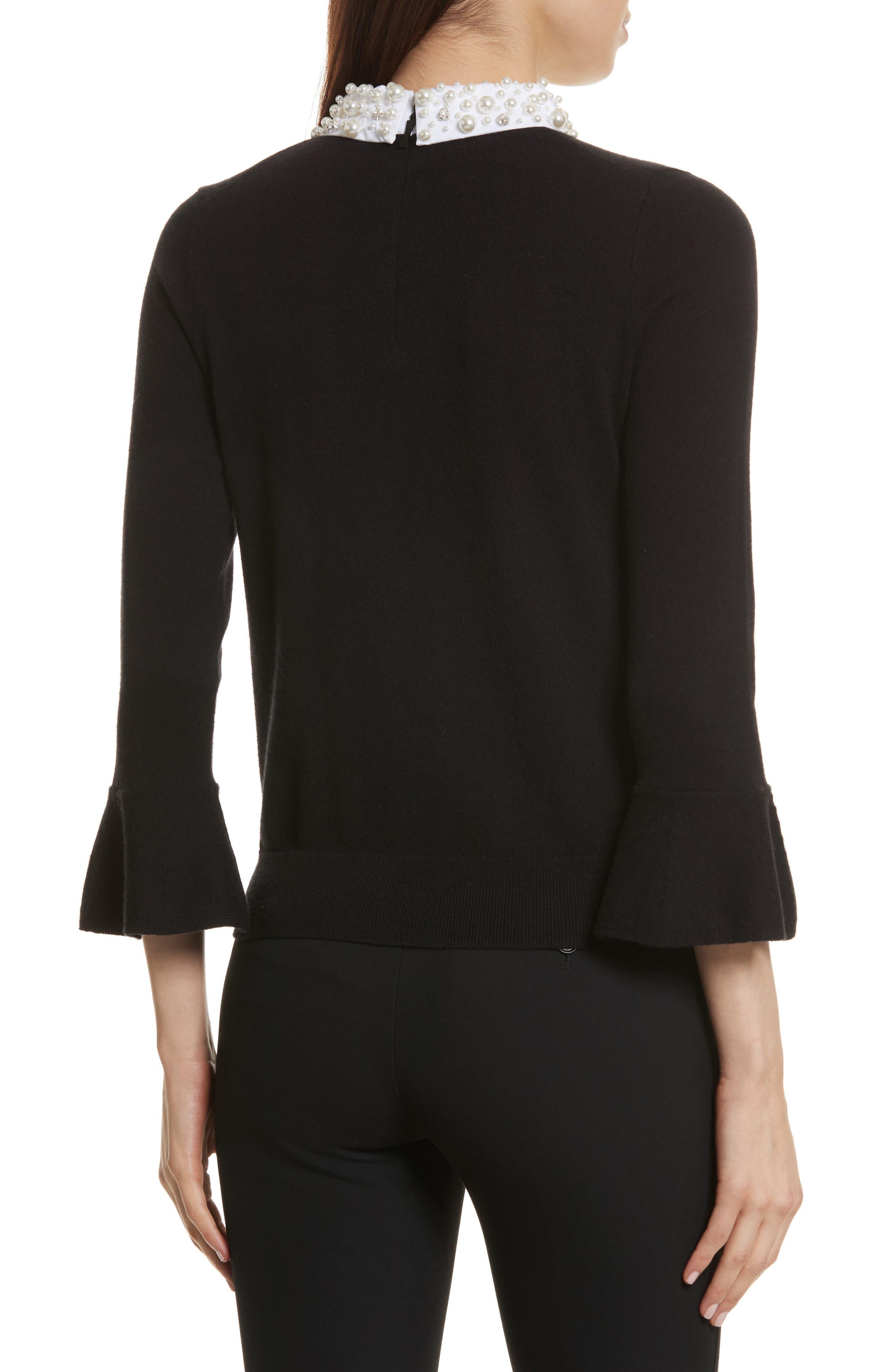 embellished collar sweater,                             Alternate thumbnail 2, color,                             Black