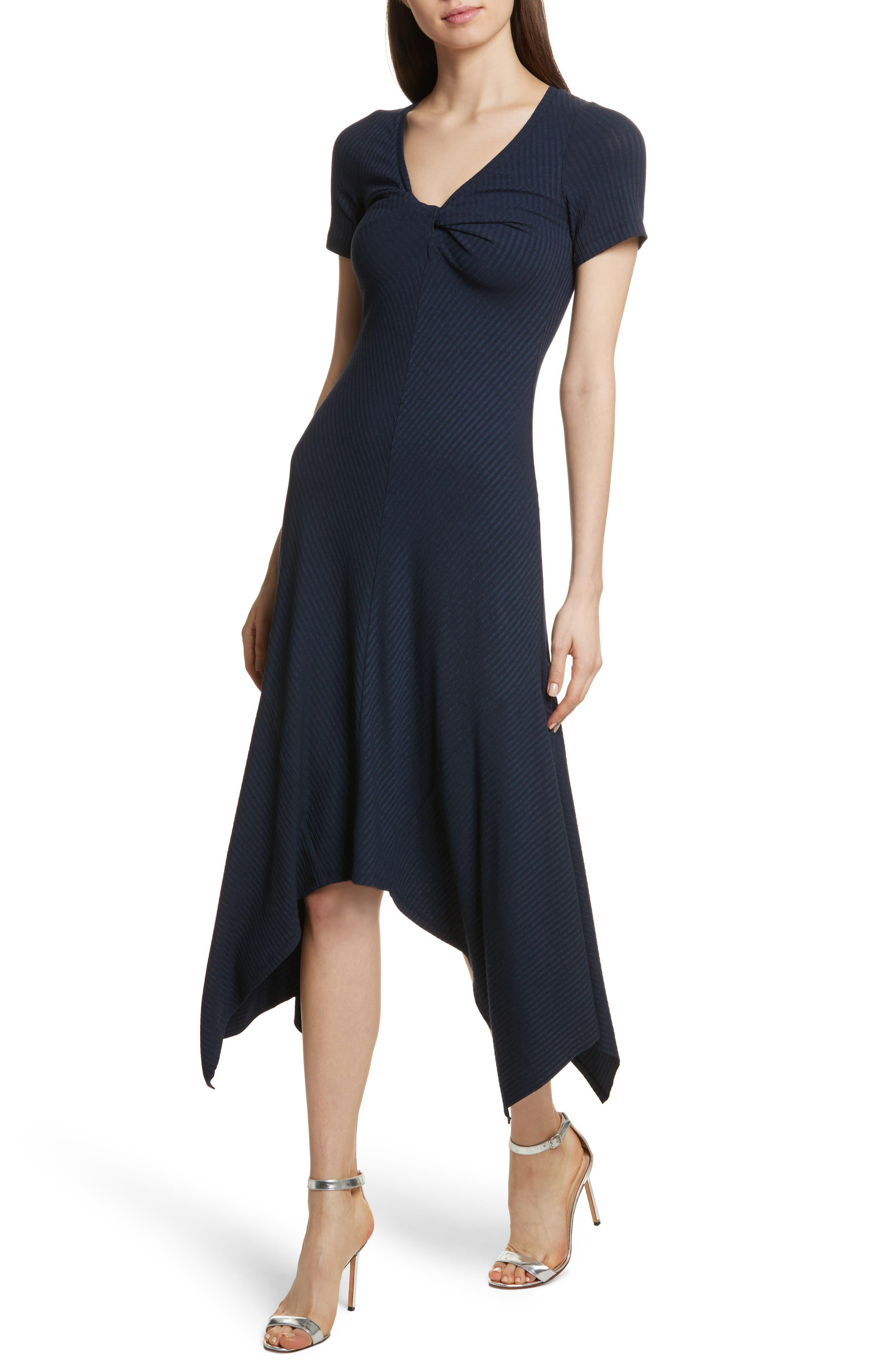 Knotted Rib Knit Midi Dress,                             Alternate thumbnail 5, color,                             Navy