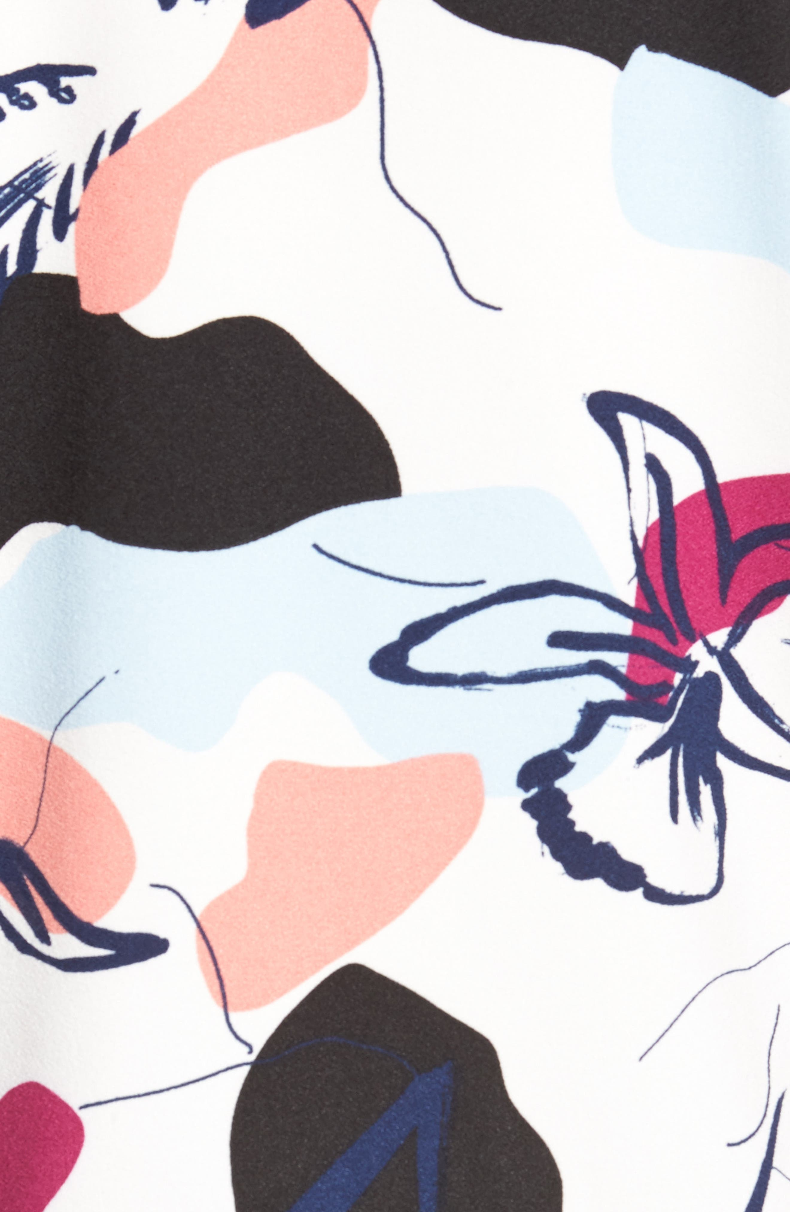 Ruffle Sleeve Blouse,                             Alternate thumbnail 5, color,                             White- Purple Floral