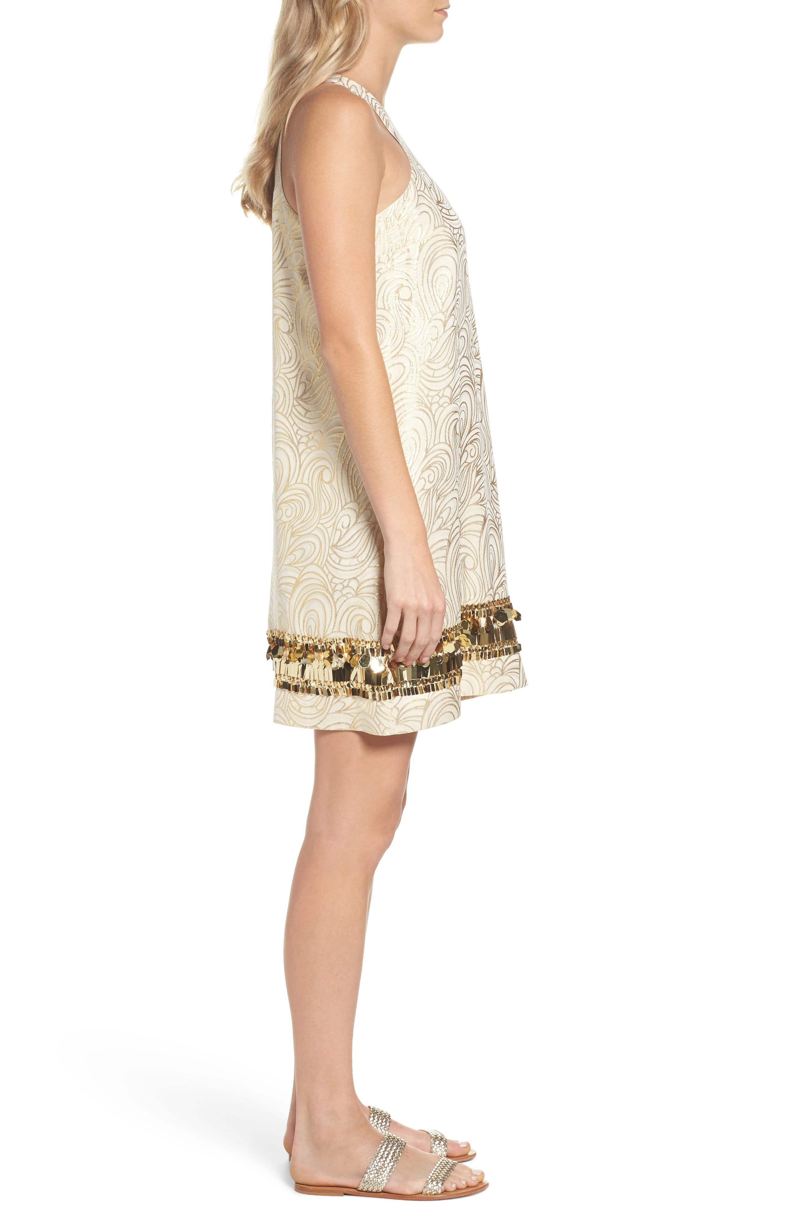 Diedra Shift Dress,                             Alternate thumbnail 3, color,                             Gold Tidal Wave Jacquard