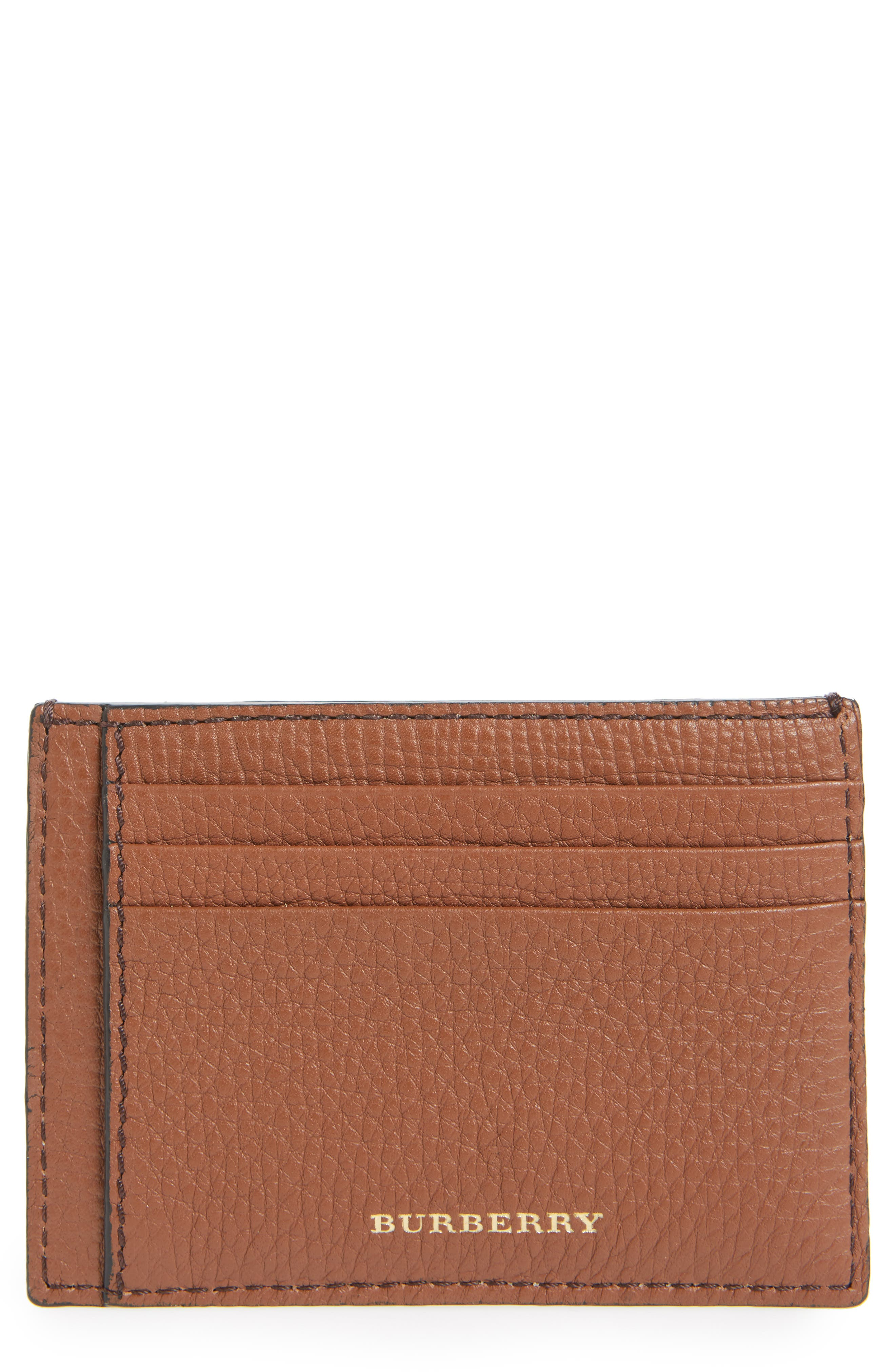 Burberry Check Leather Money Clip Card Case