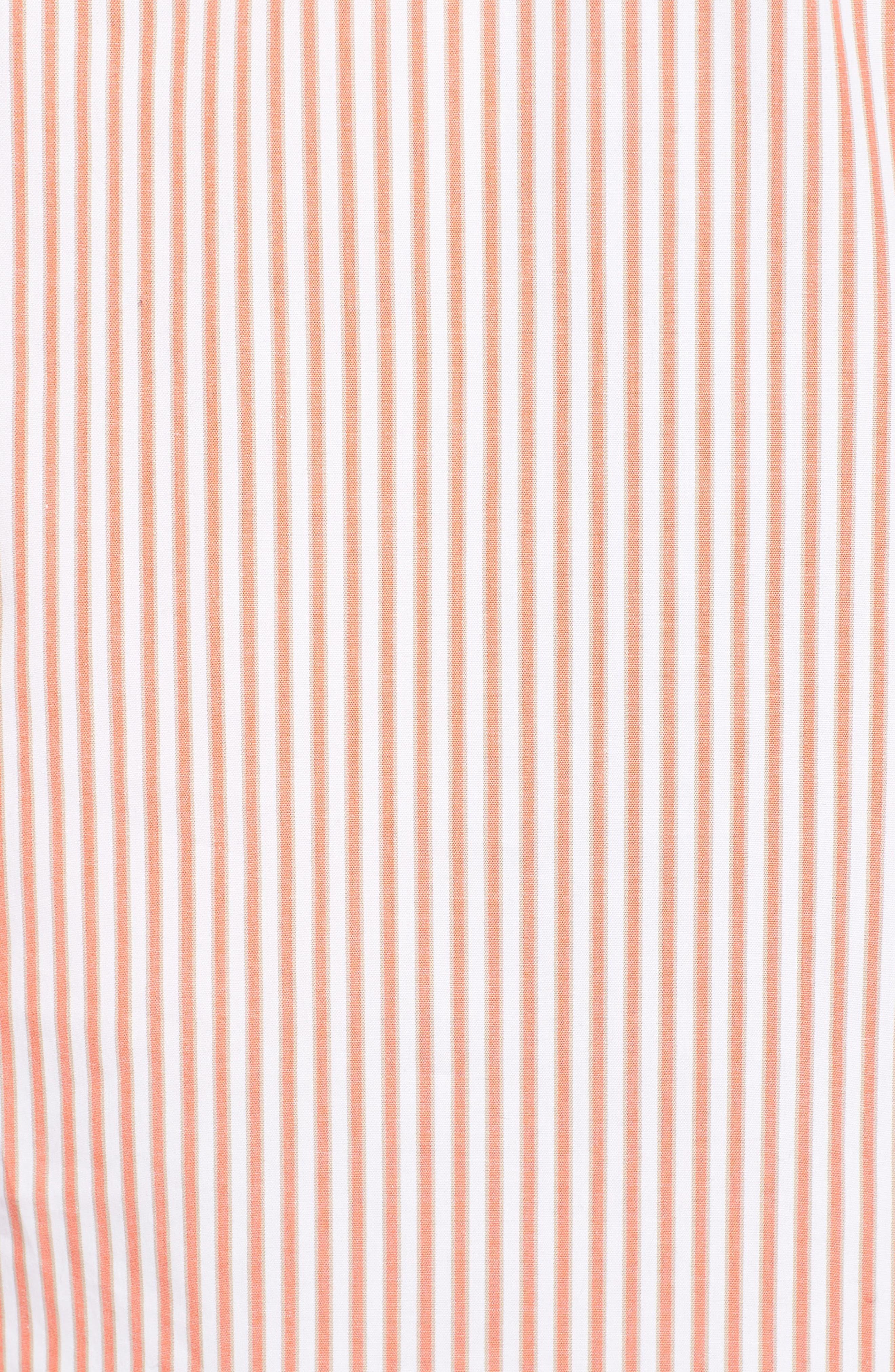 Stripe Button Down Shirtdress,                             Alternate thumbnail 5, color,                             Poppy