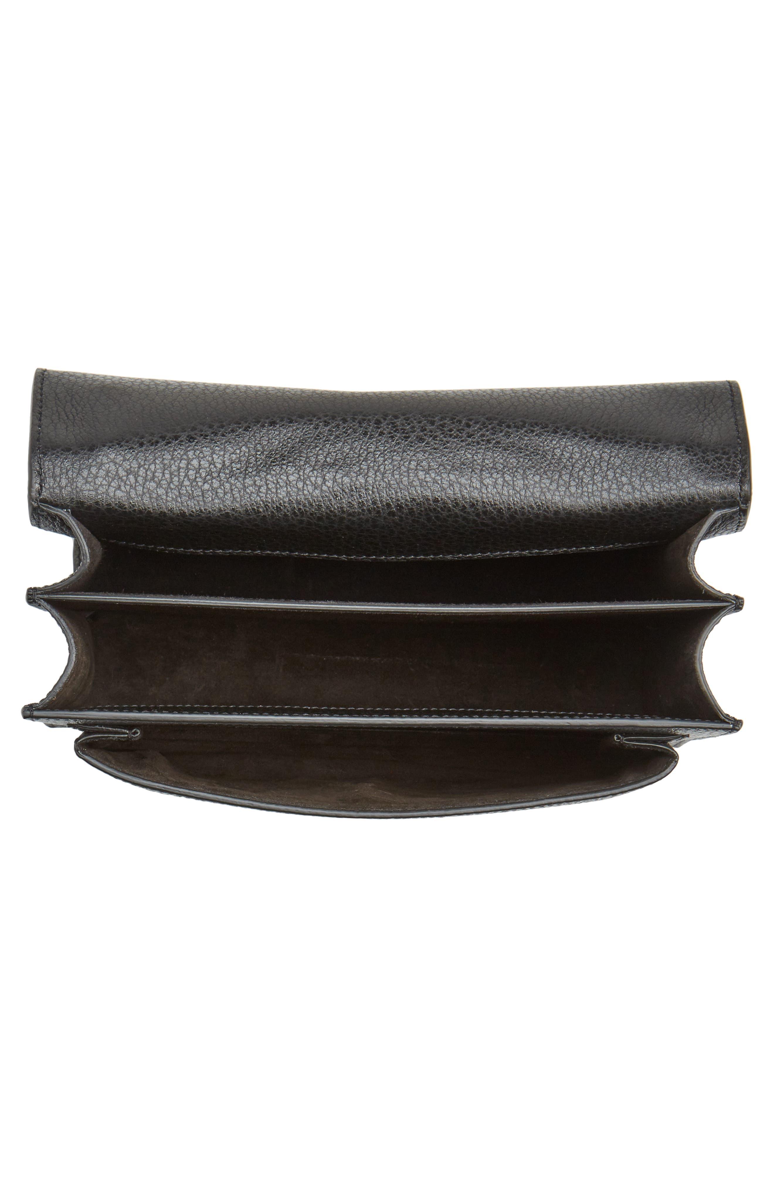 Medium Sunset Calfskin Shoulder Bag with Woven Guitar Strap,                             Alternate thumbnail 4, color,                             Noir