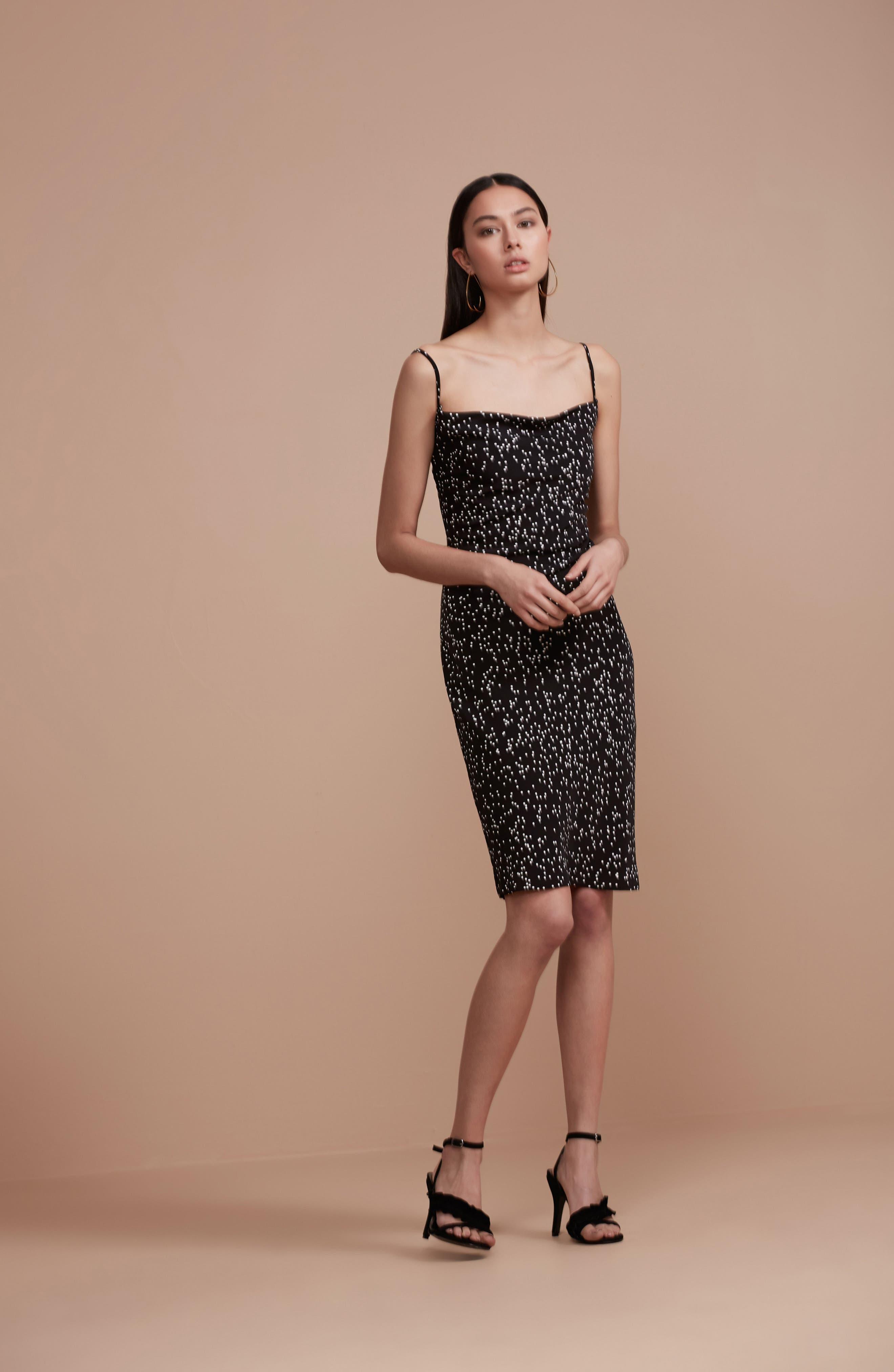 Embrace Me Tie Back Sheath Dress,                             Alternate thumbnail 7, color,                             Black W White Spot