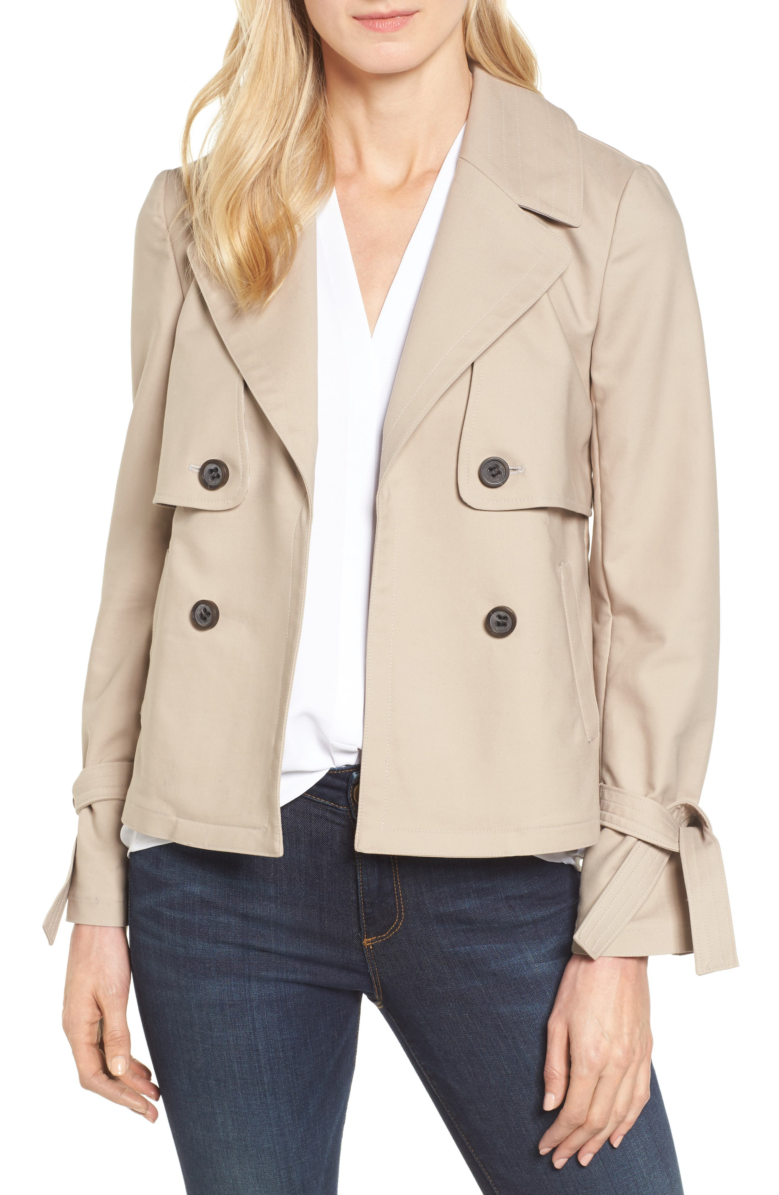 Halogen® Short Trench Coat (Regular & Petite)