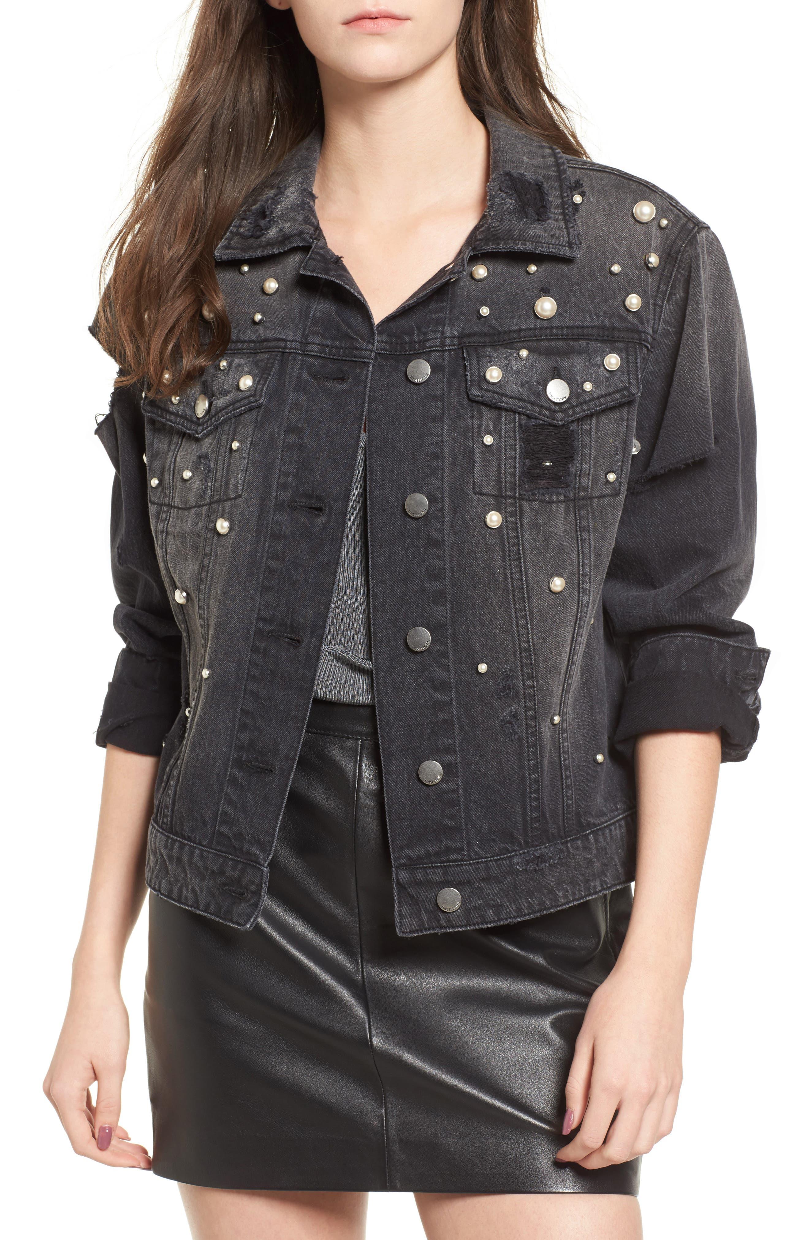 Imitation Pearl Detail Boyfriend Denim Jacket,                         Main,                         color, Stone Wash