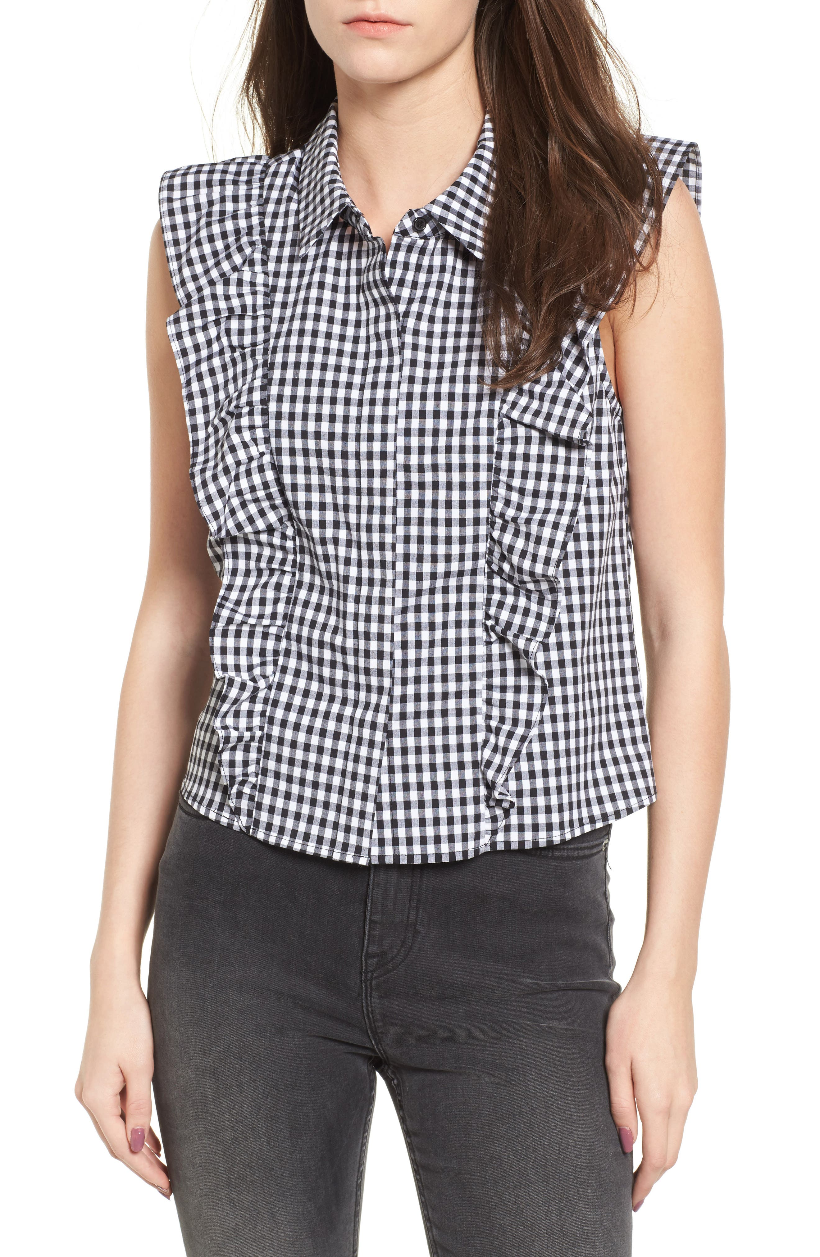 Ruffle Front Blouse,                         Main,                         color, Blkwht Gingham
