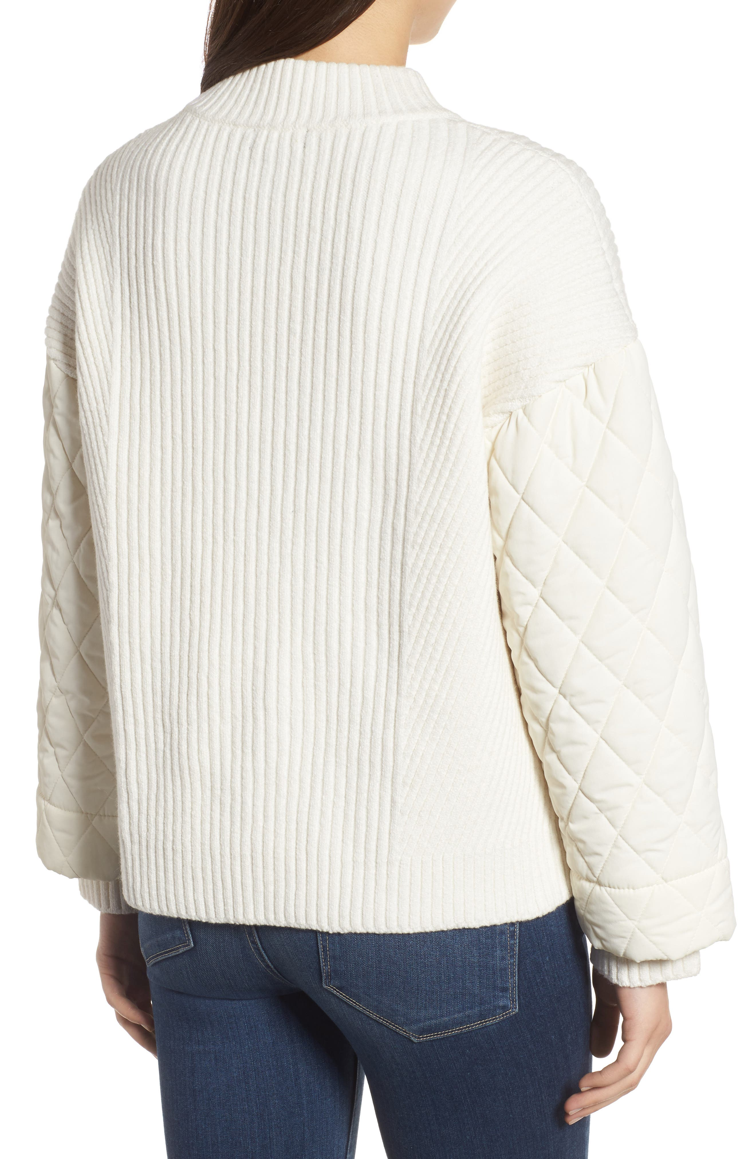 Quilted Sleeve Sweater,                             Alternate thumbnail 2, color,                             E Cream