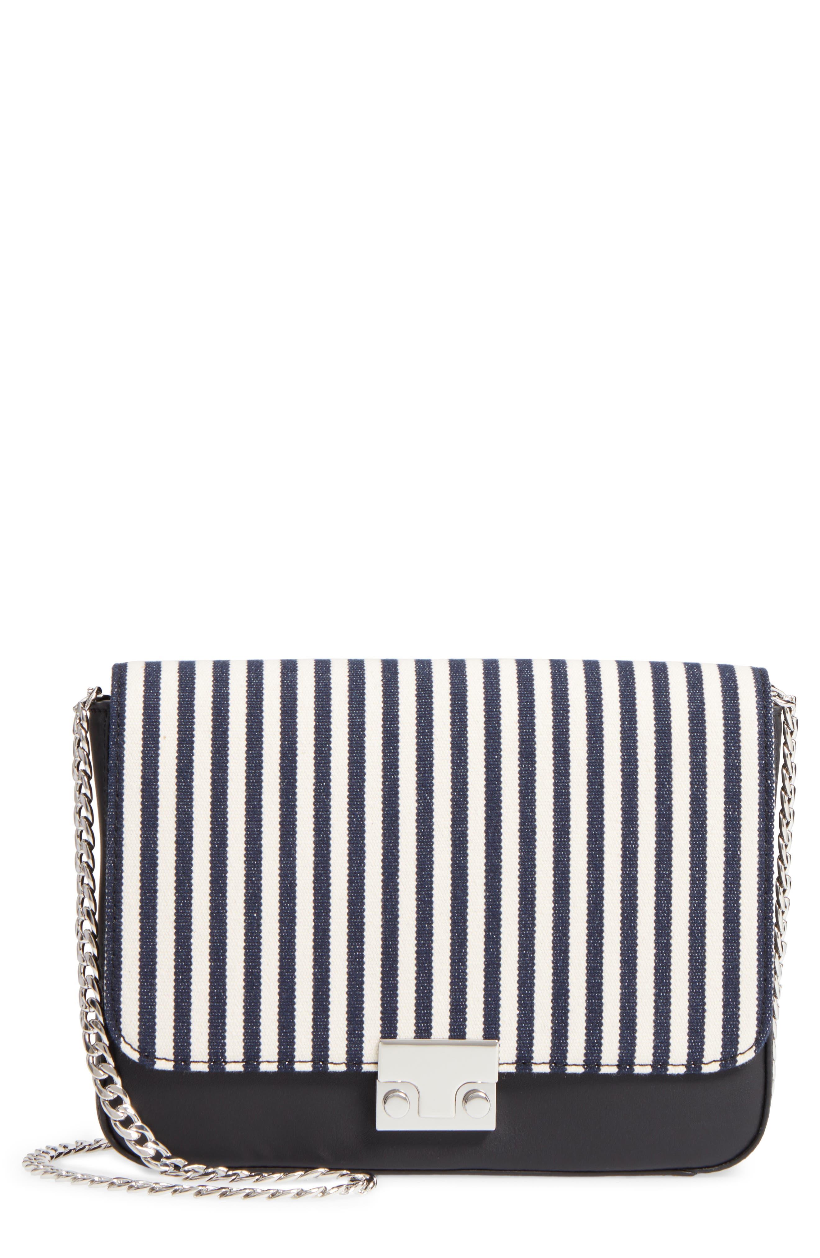 Lock Stripe Clutch/Shoulder Bag,                             Main thumbnail 1, color,                             White/ Eclipse