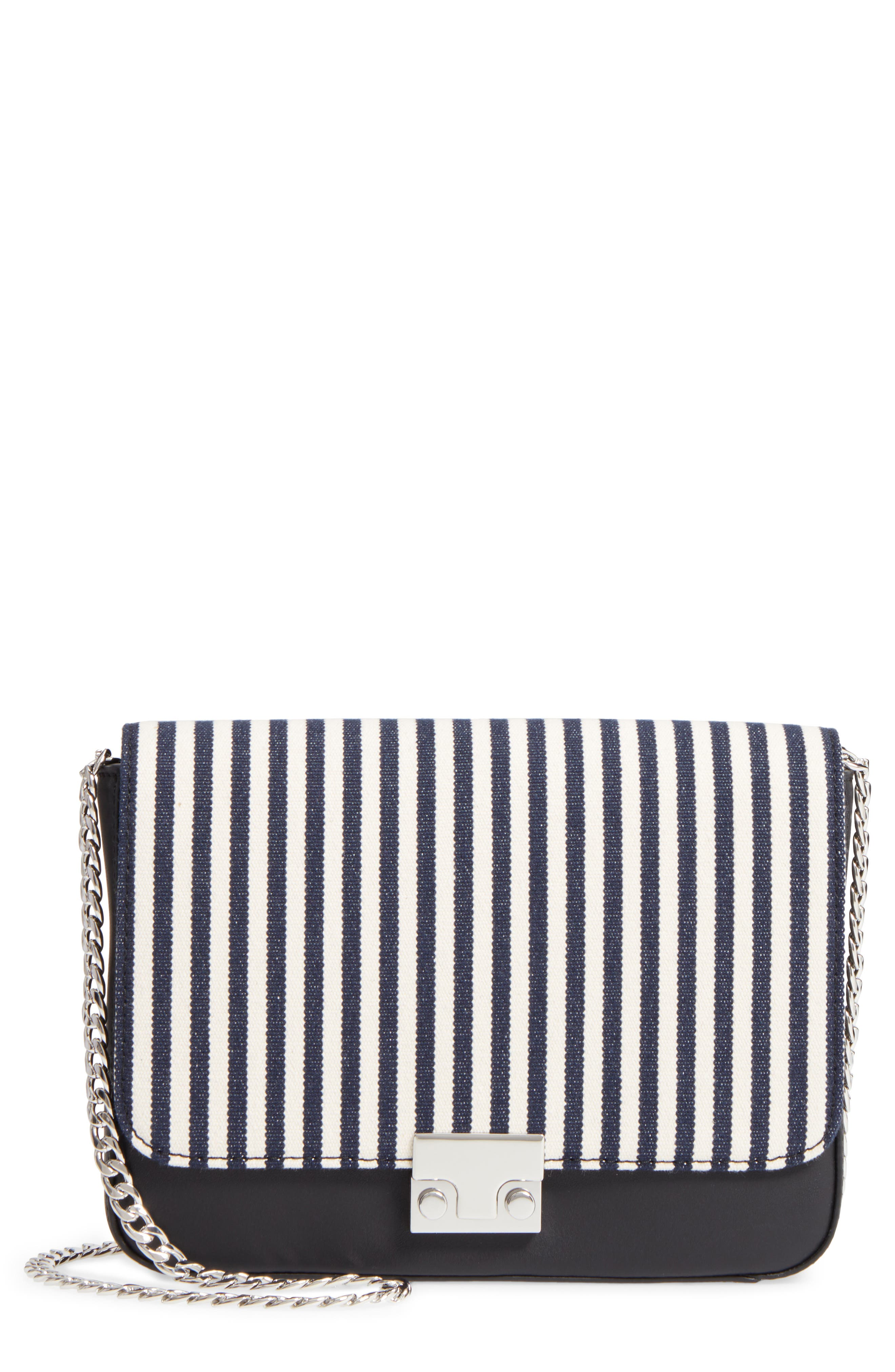 Lock Stripe Clutch/Shoulder Bag,                         Main,                         color, White/ Eclipse