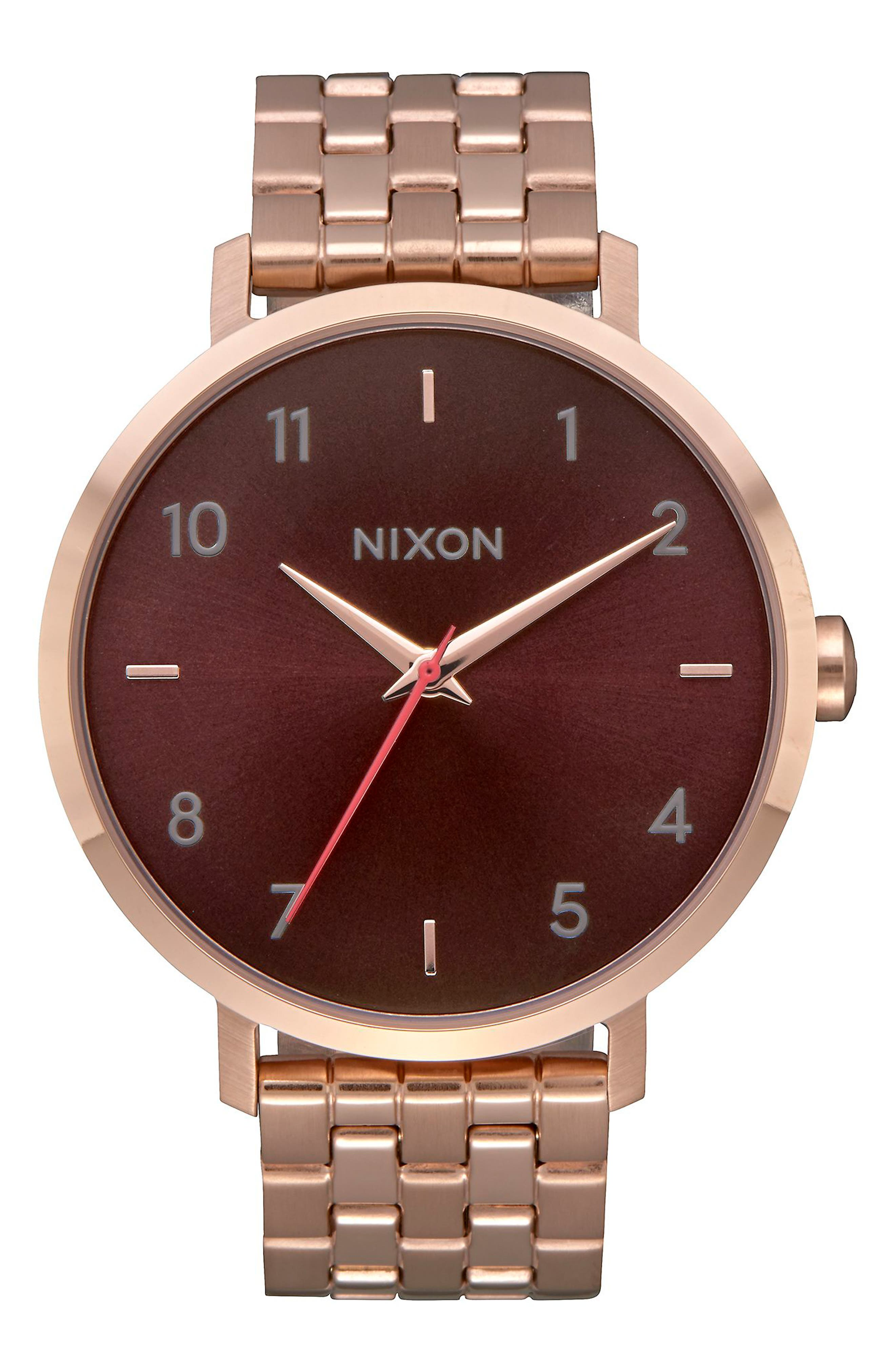 The Arrow Bracelet Watch, 38mm,                             Main thumbnail 1, color,                             Rose Gold/ Brown/ Rose Gold