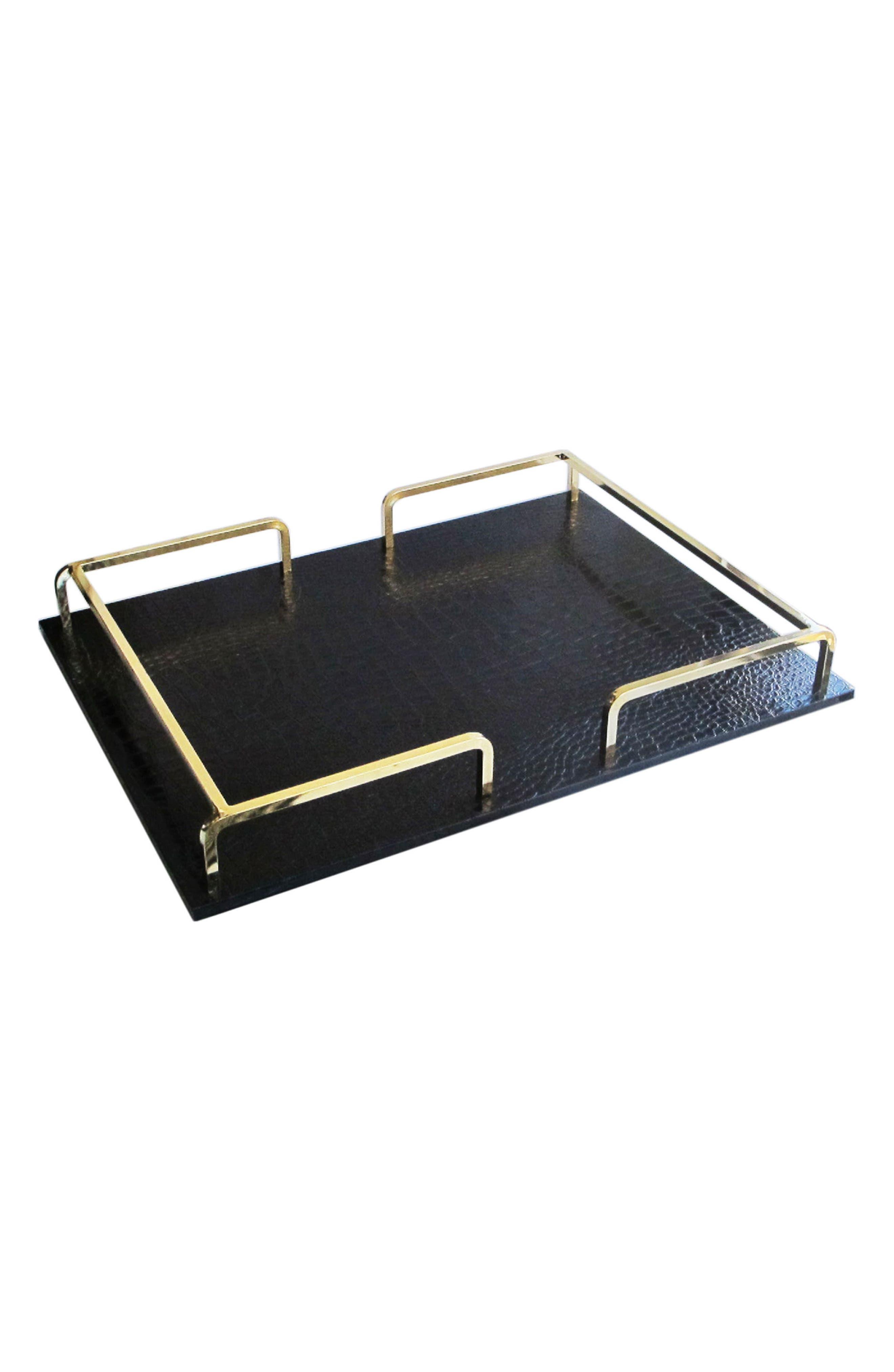 Shagrin Serving Tray,                             Main thumbnail 1, color,                             Black/ Gold