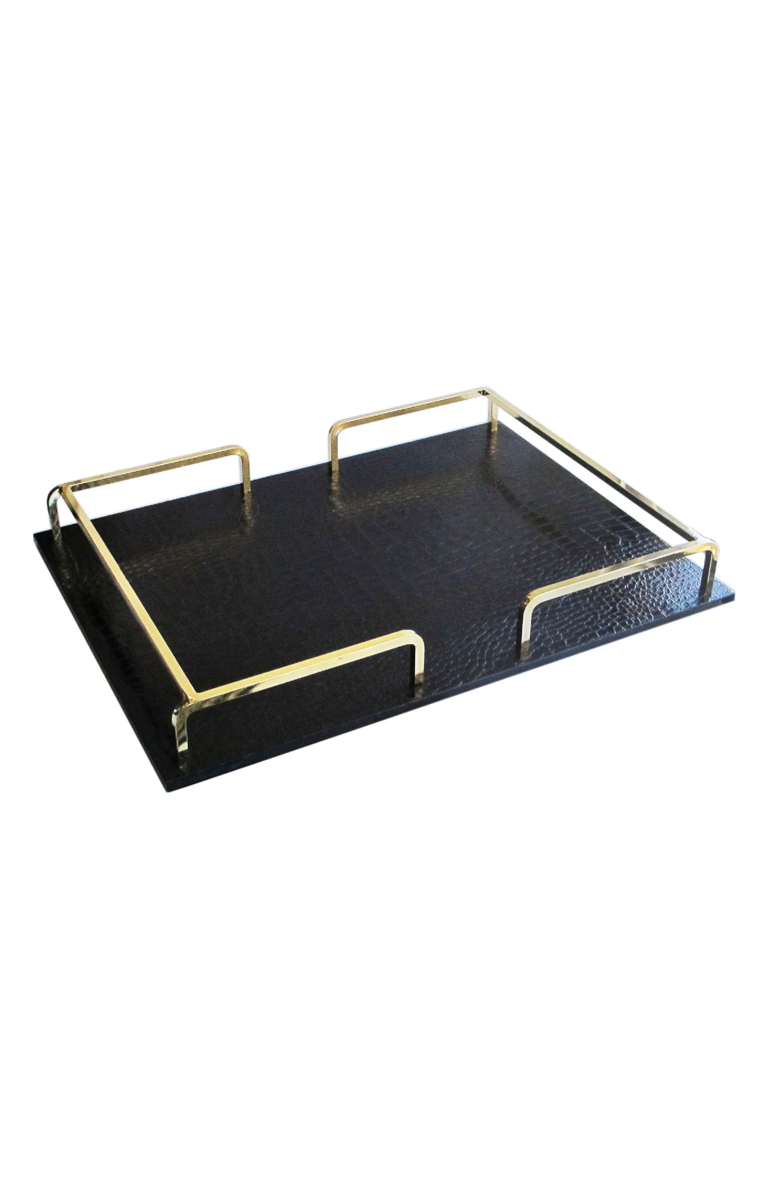 Shagrin Serving Tray,                         Main,                         color, Black/ Gold
