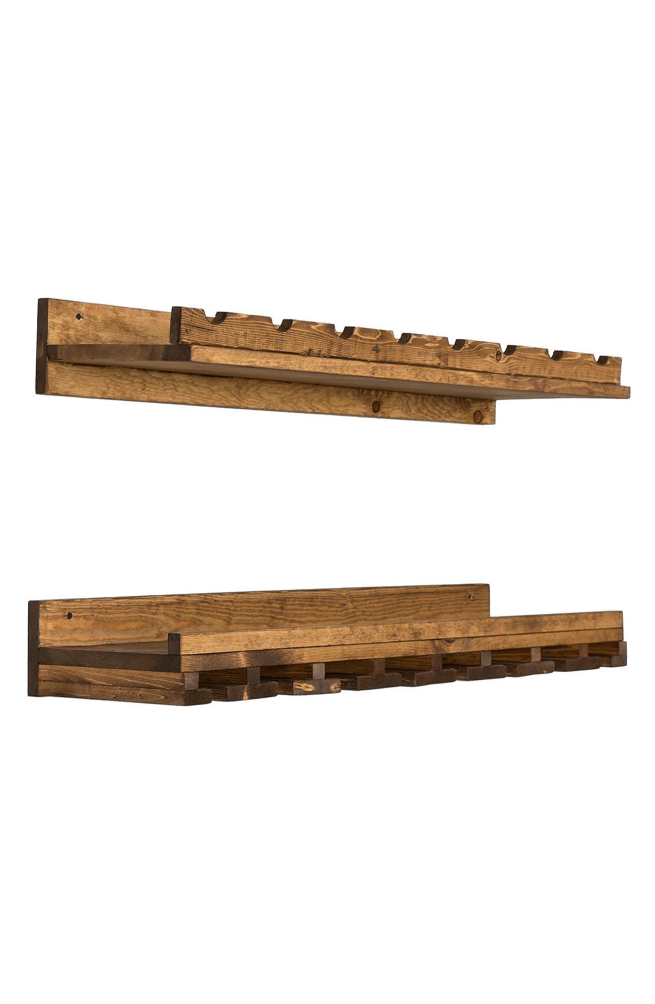Set of 2 Pine Wood Wine Racks,                             Alternate thumbnail 6, color,                             Dark Walnut
