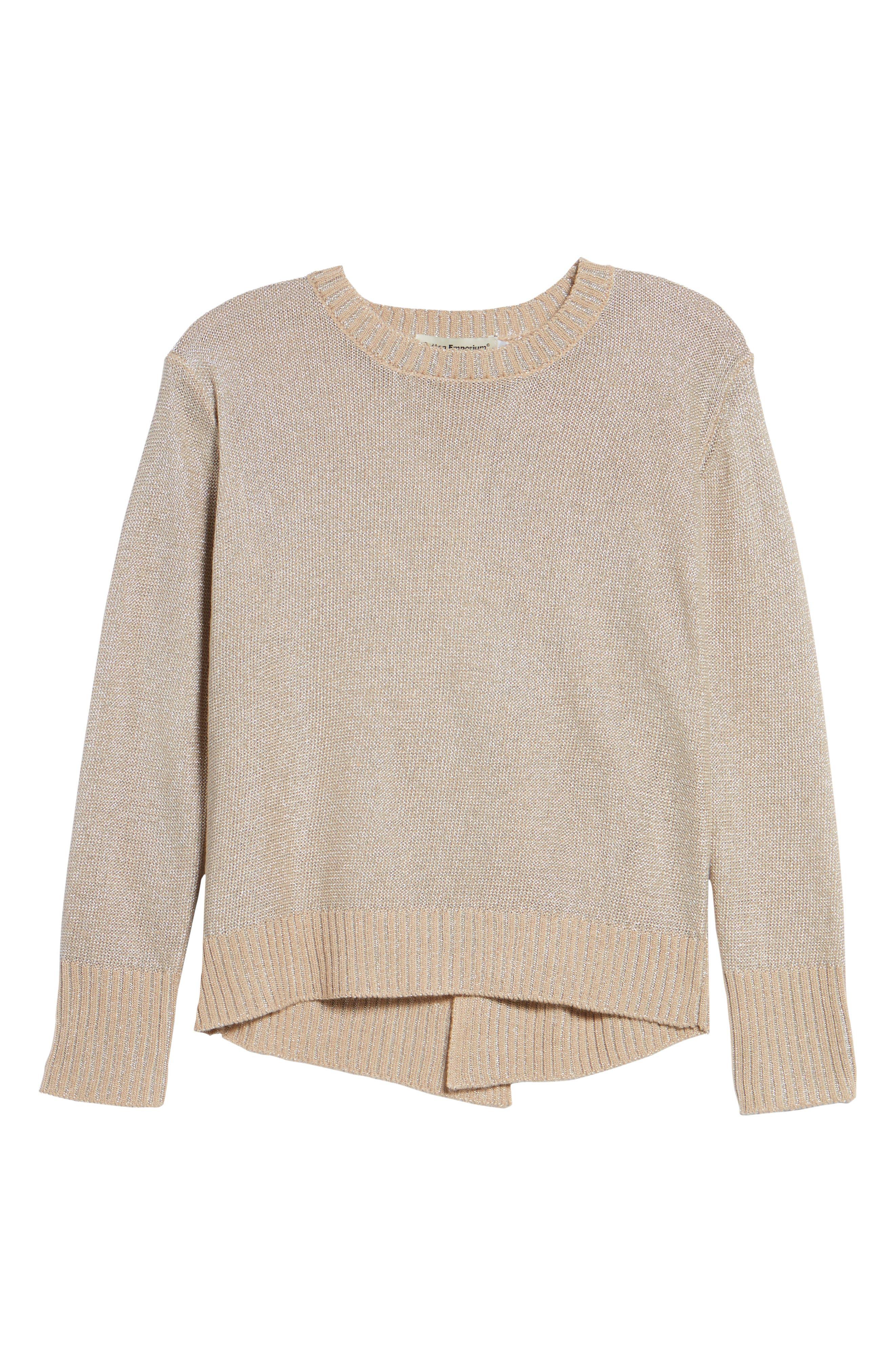 Metallic Flyaway Back Sweater,                             Alternate thumbnail 6, color,                             Taupe/ Silver