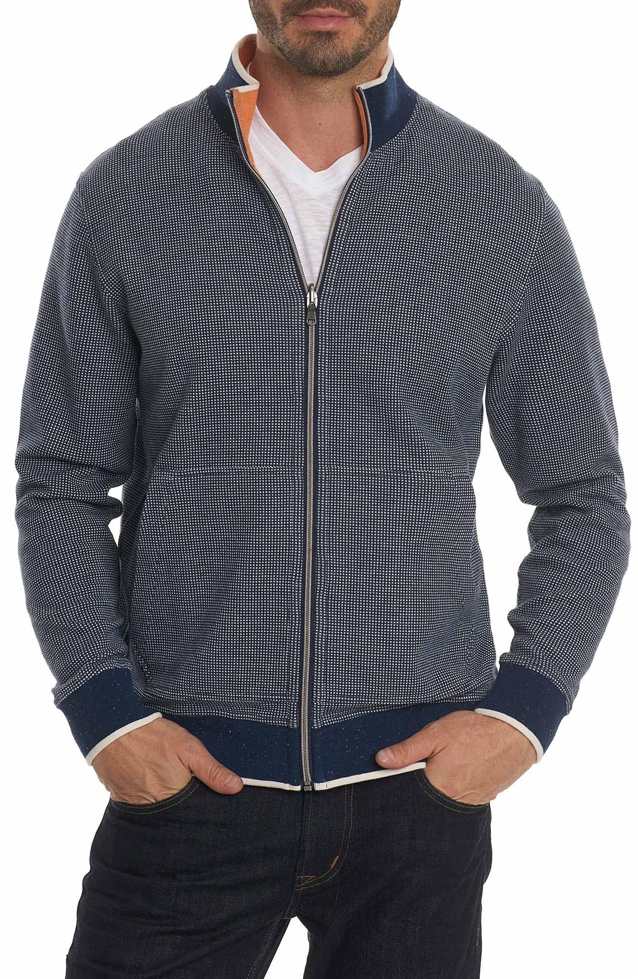 Rivers Front Zip Knit Jacket,                         Main,                         color, Navy