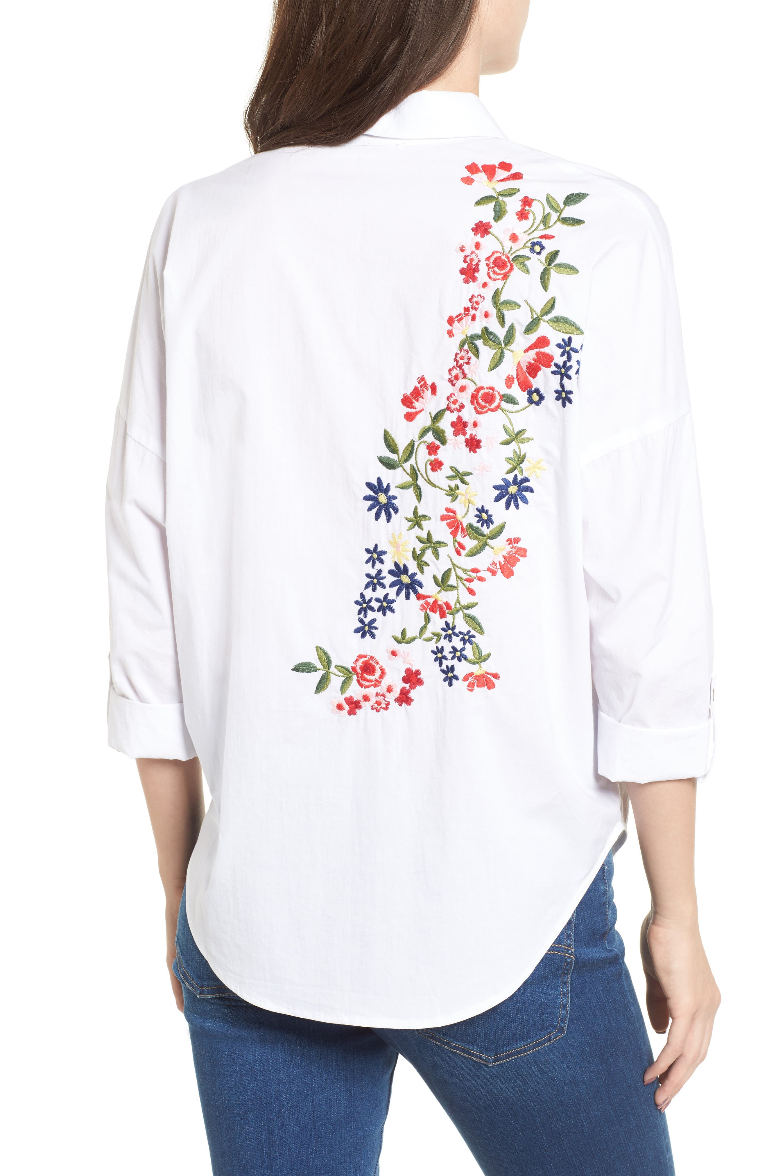 Embroidered Back Shirt,                             Alternate thumbnail 2, color,                             White
