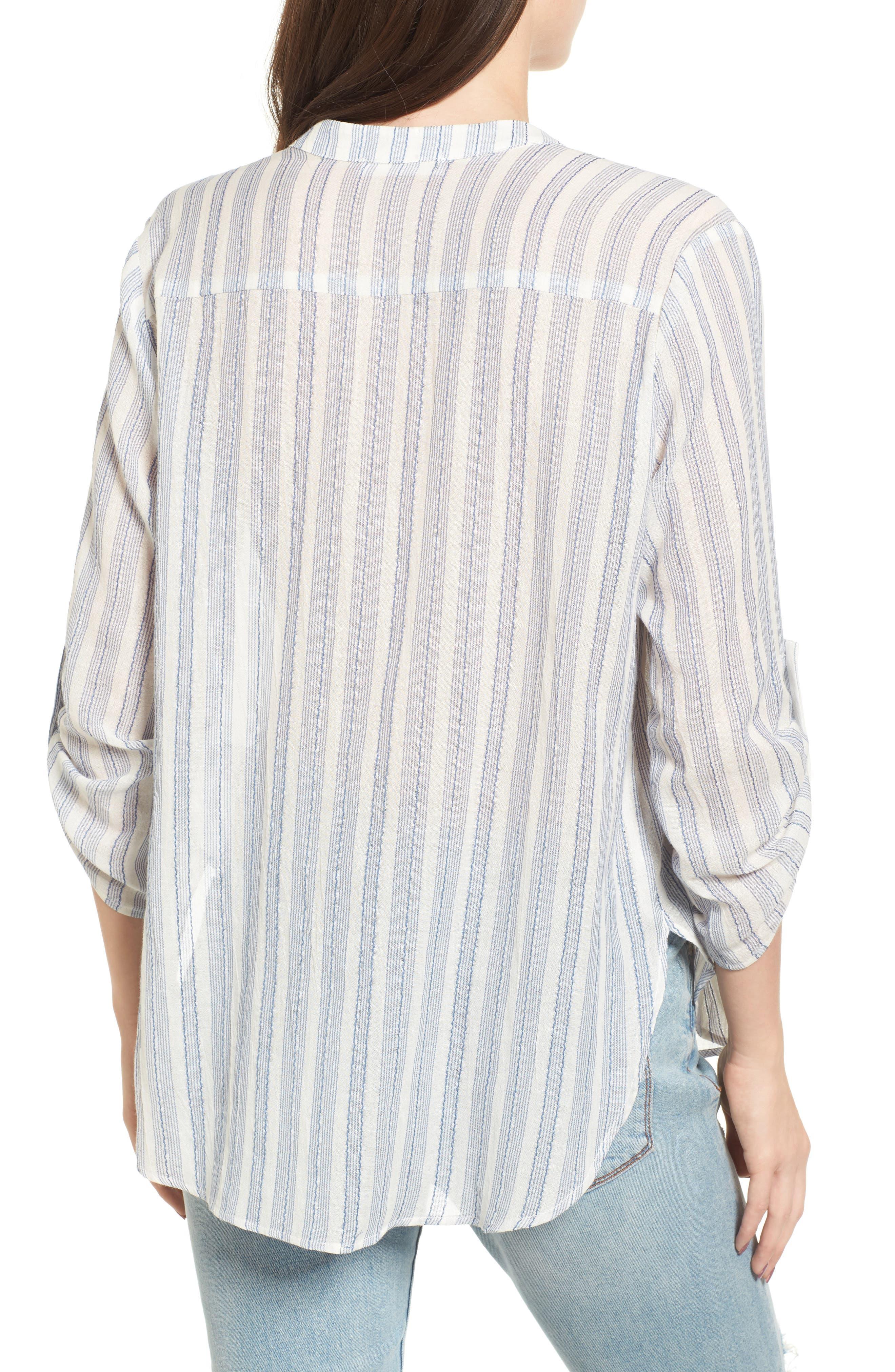 Stripe Cotton Split Neck Top,                             Alternate thumbnail 2, color,                             Blue/ White Stripe