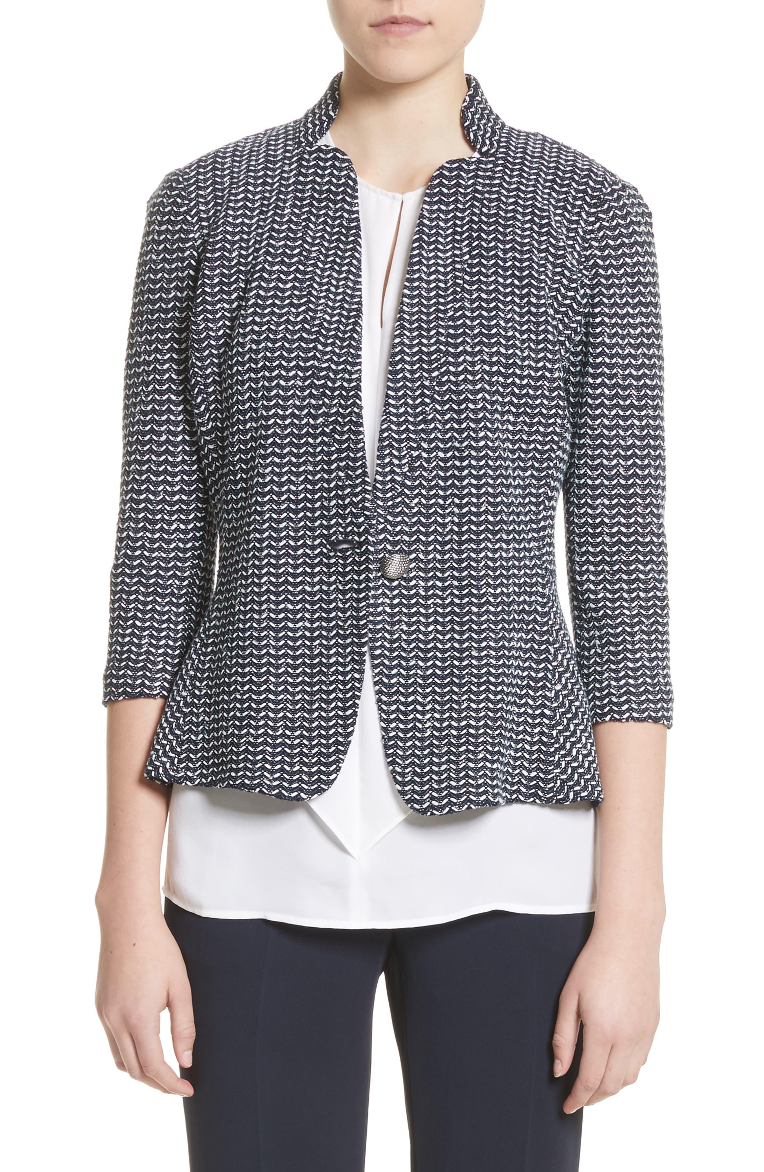 Chevron Knit Jacket,                         Main,                         color, Navy Multi