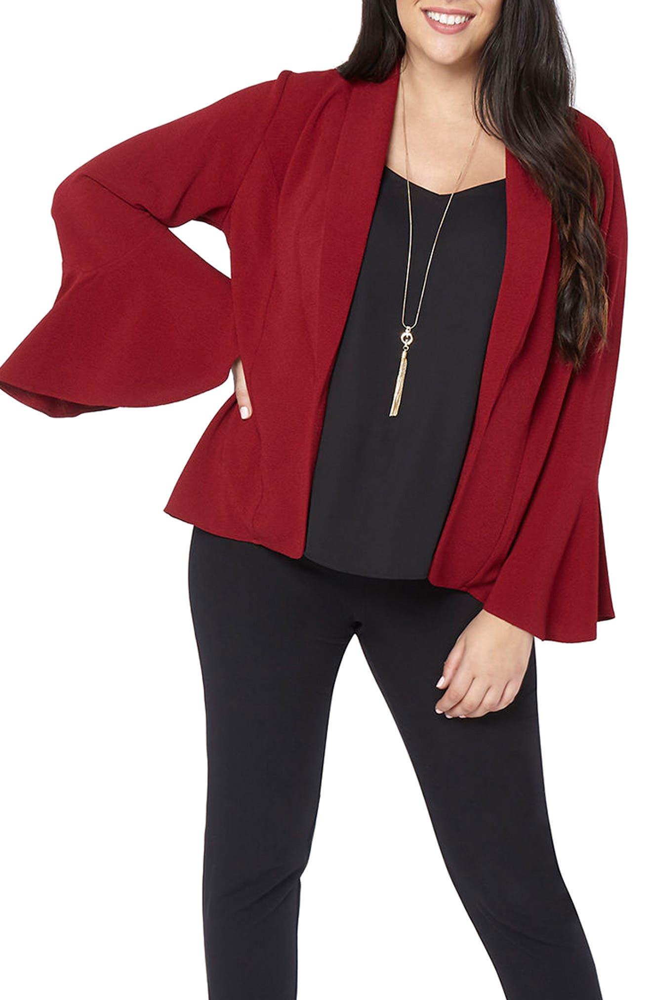 Bell Sleeve Crepe Jacket,                         Main,                         color, Wine