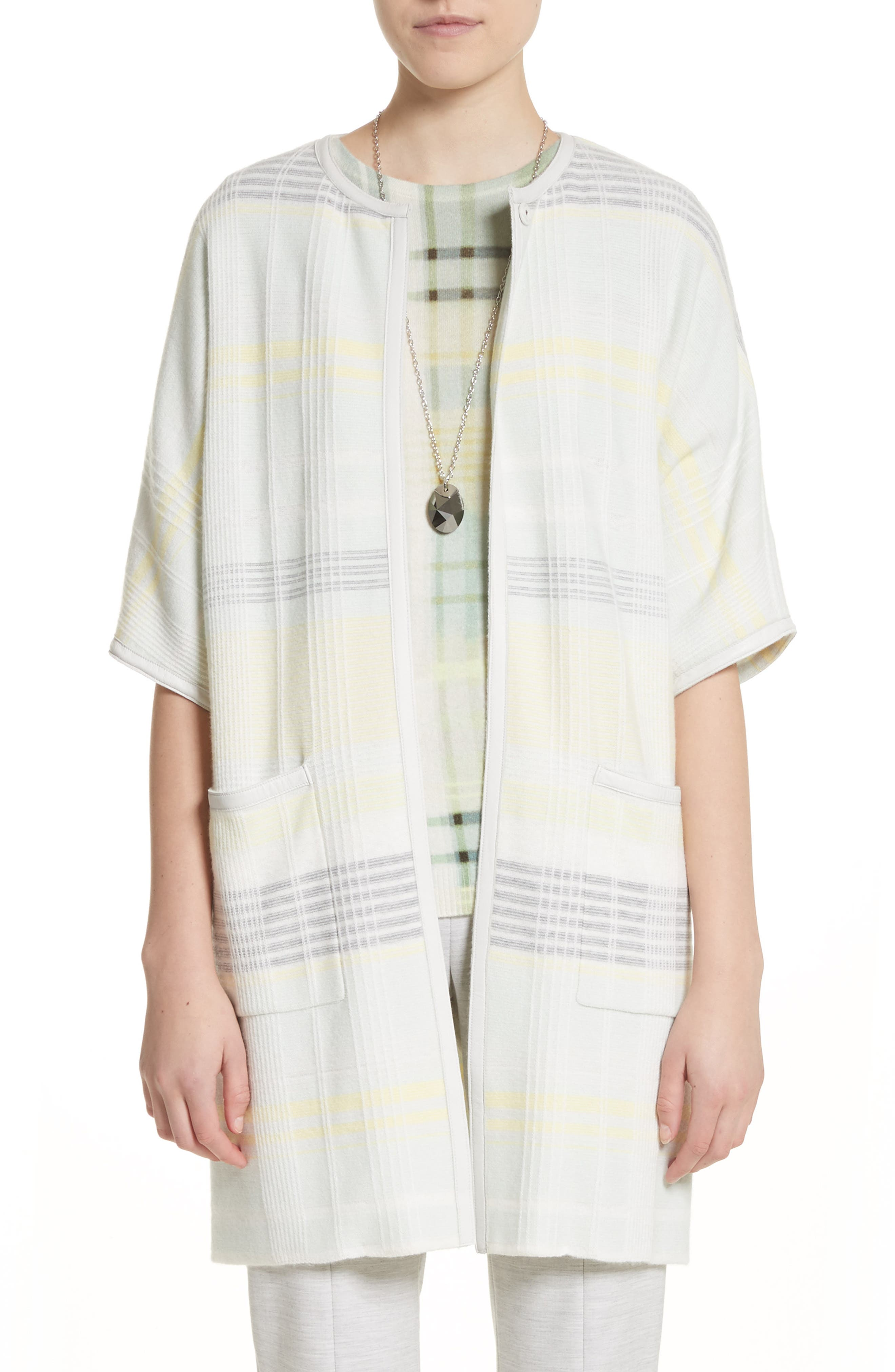 Felted Wool & Cashmere Blend Cardigan,                         Main,                         color, Mint Multi
