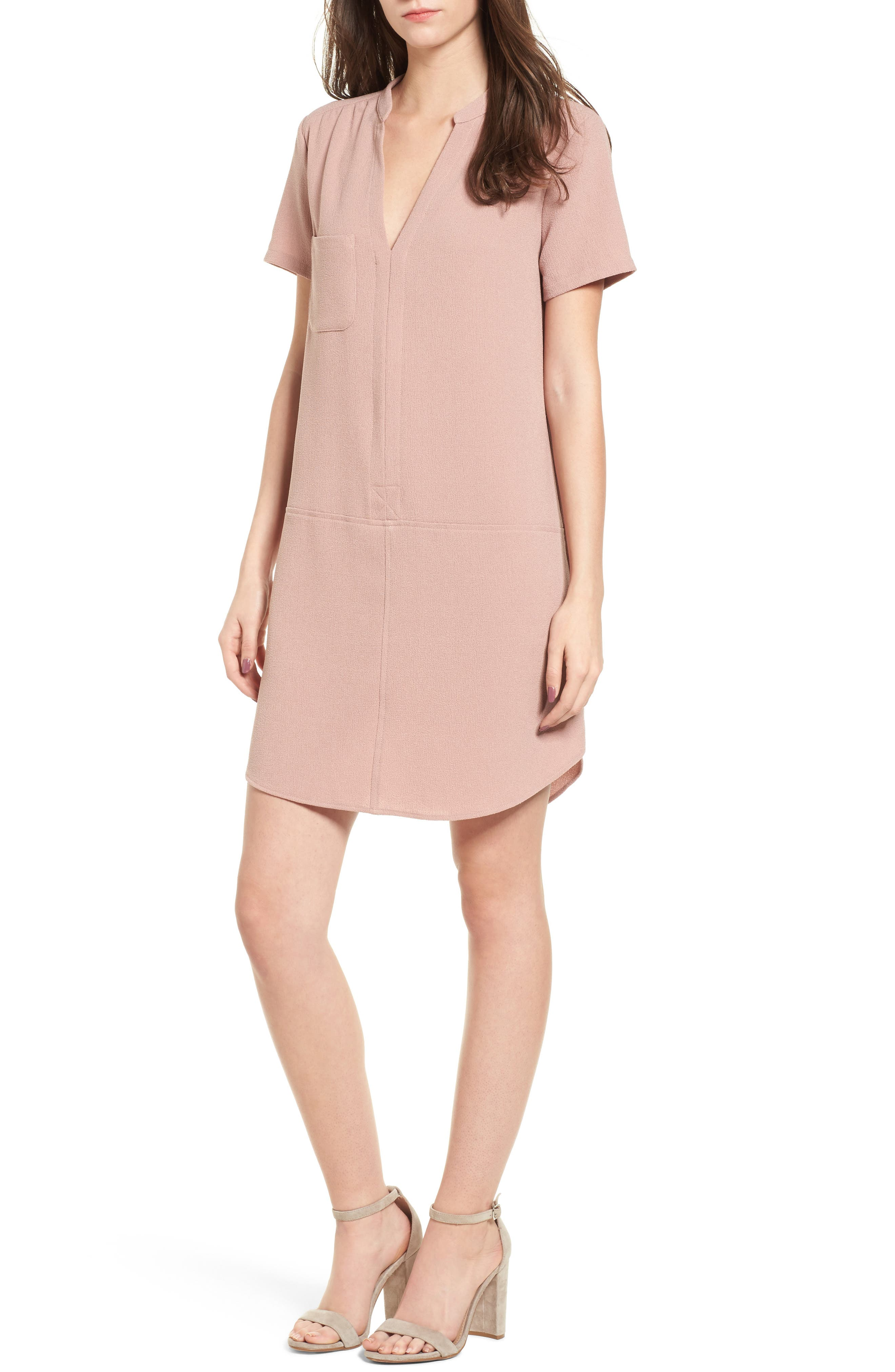 Hailey Crepe Dress,                         Main,                         color, Pink Adobe