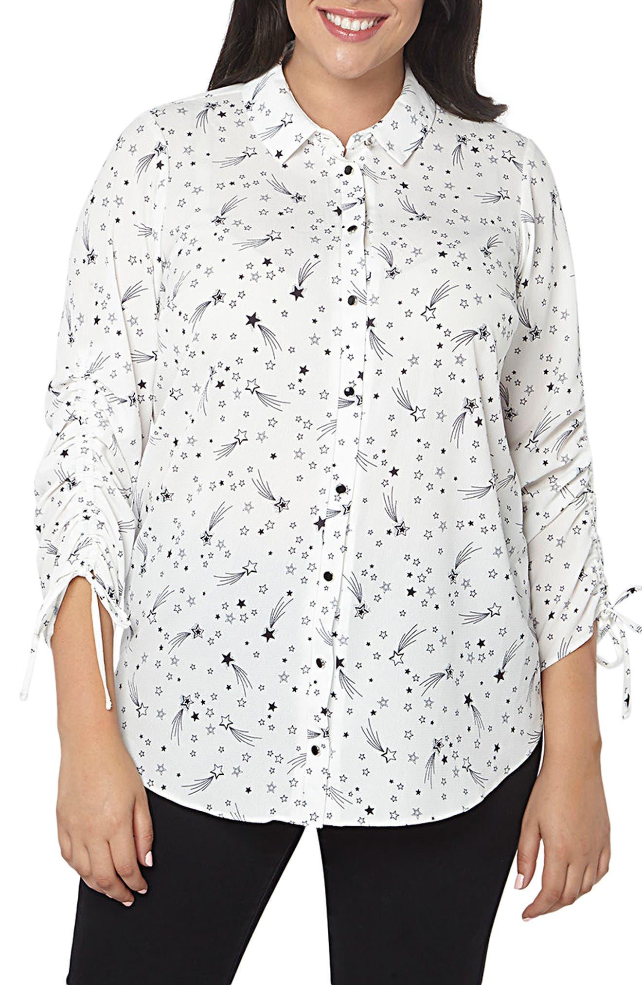 Star Ruched Shirt,                             Main thumbnail 1, color,                             Ivory