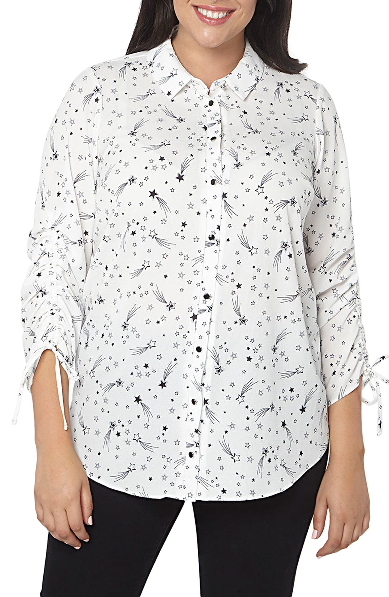 Main Image - Evans Star Ruched Shirt (Plus Size)