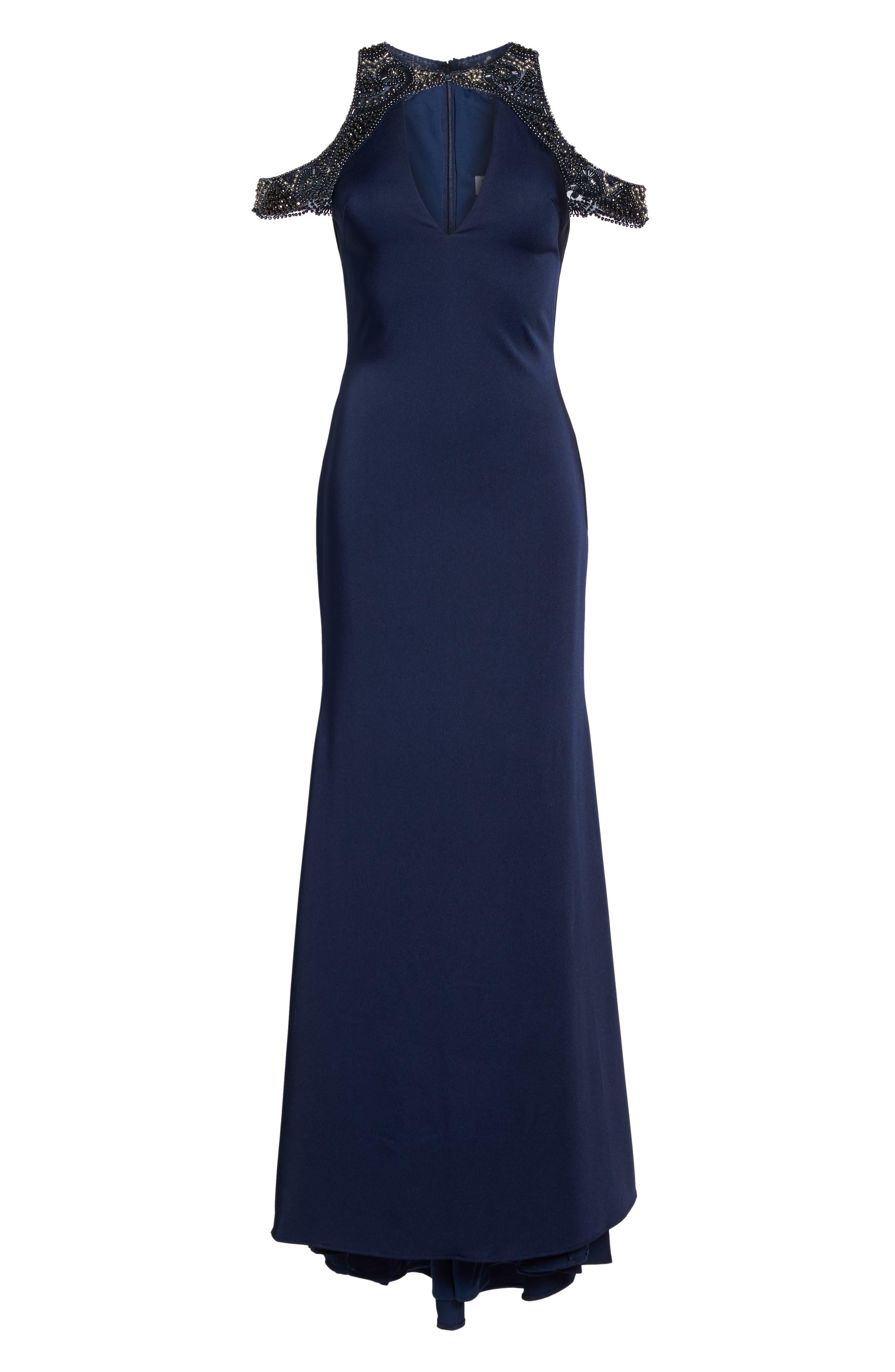 Alternate Image 6  - Ieena for Mac Duggal Embellished Cold Shoulder Gown