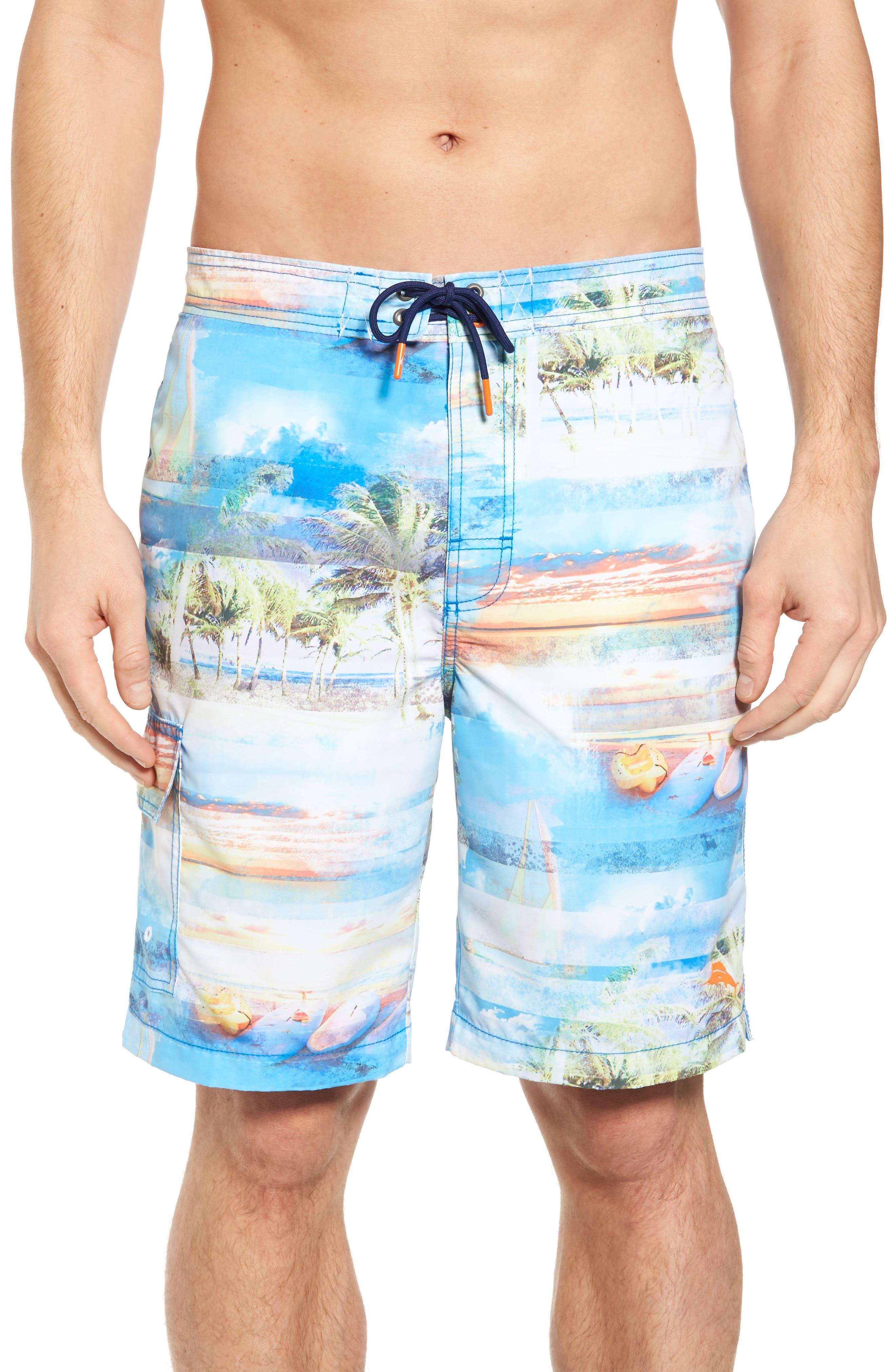 Baja Electric Beach Swim Trunks,                             Main thumbnail 1, color,                             Galaxy Blue