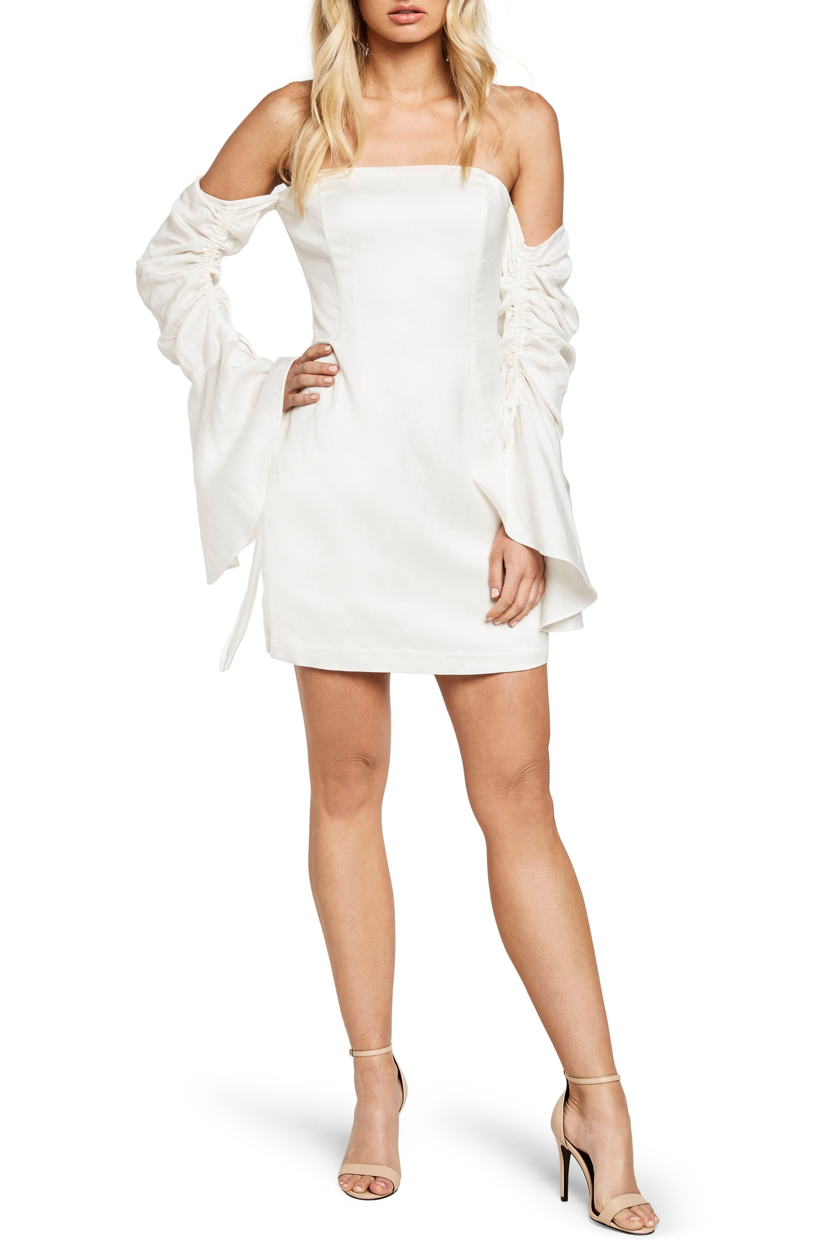 Inez Off the Shoulder Sheath Dress,                         Main,                         color, Ivory