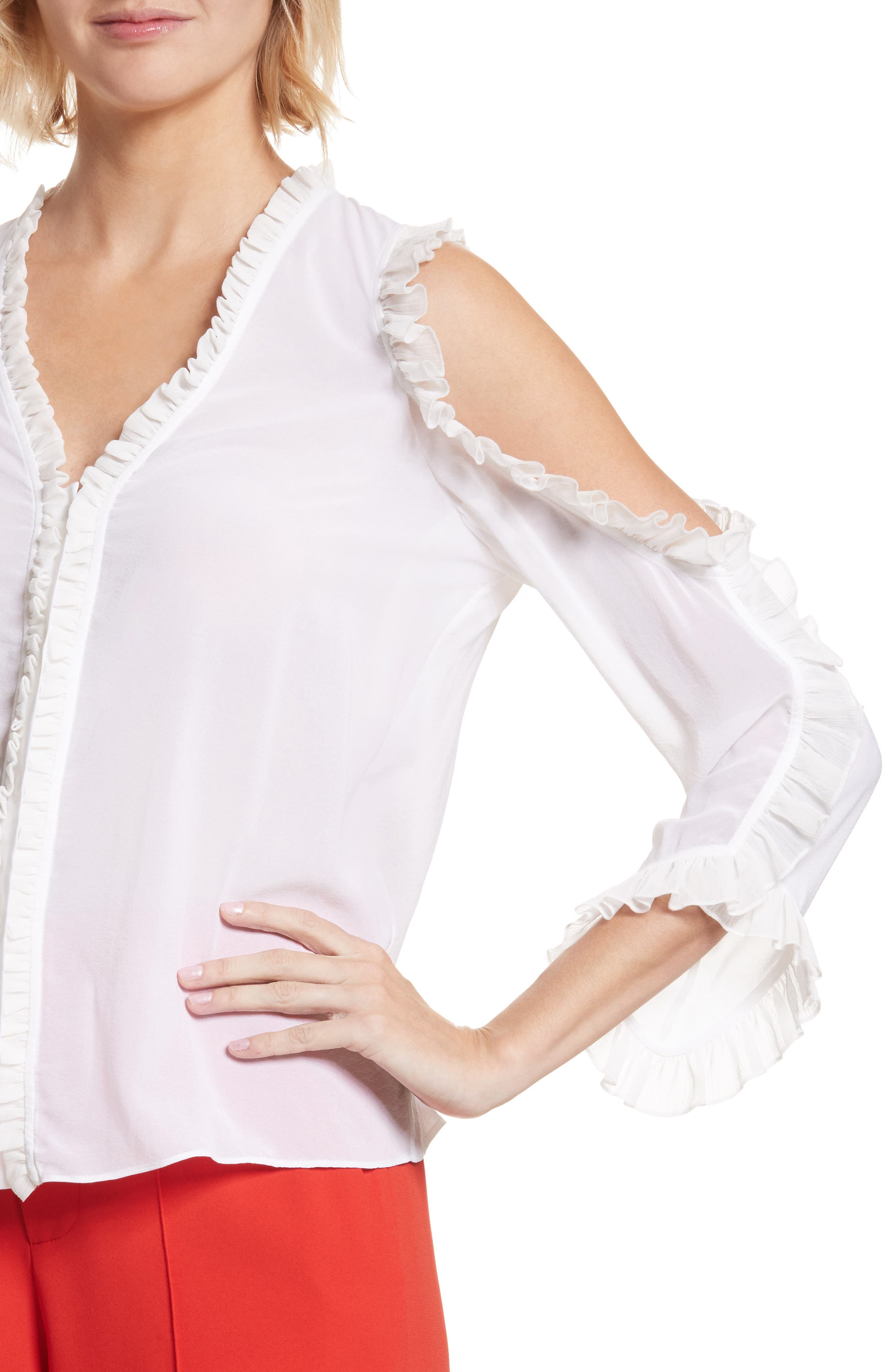Alternate Image 4  - Alice + Olivia Claudette Ruffle Stretch Silk Top