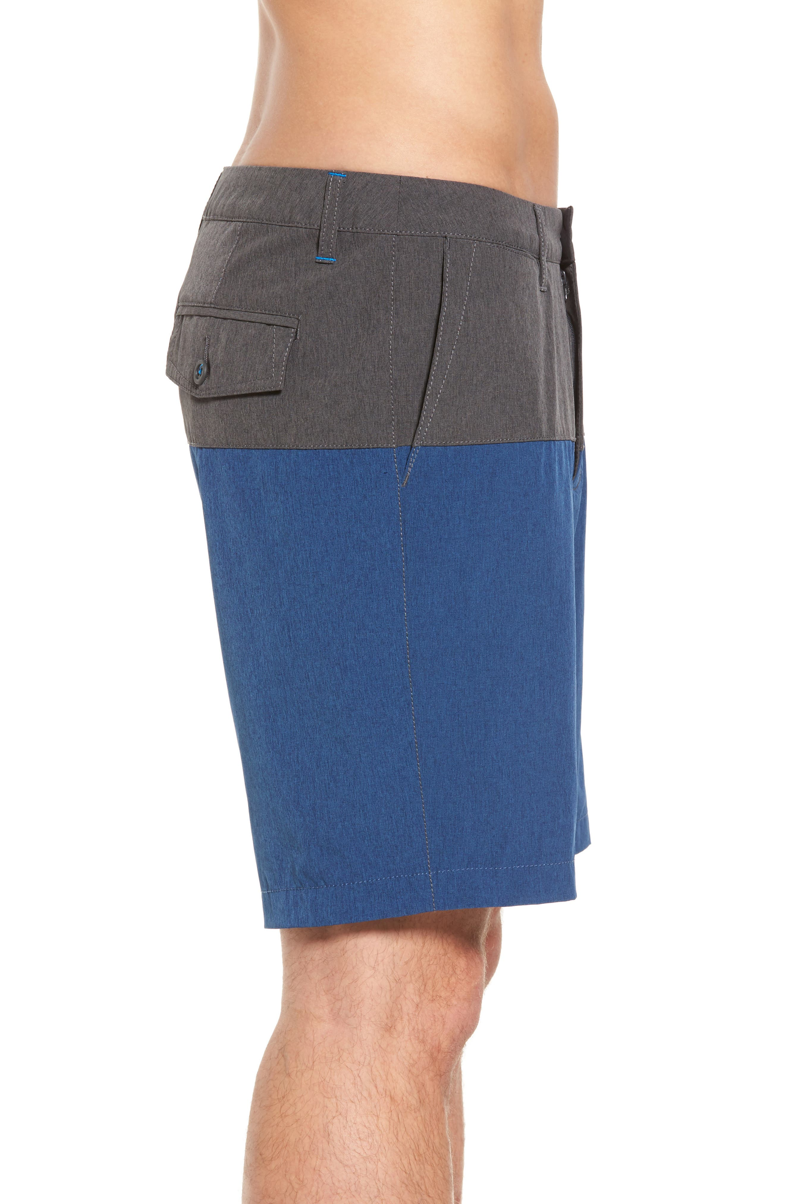 Cayman Block & Roll Hybrid Swim Shorts,                             Alternate thumbnail 3, color,                             Deep Marine