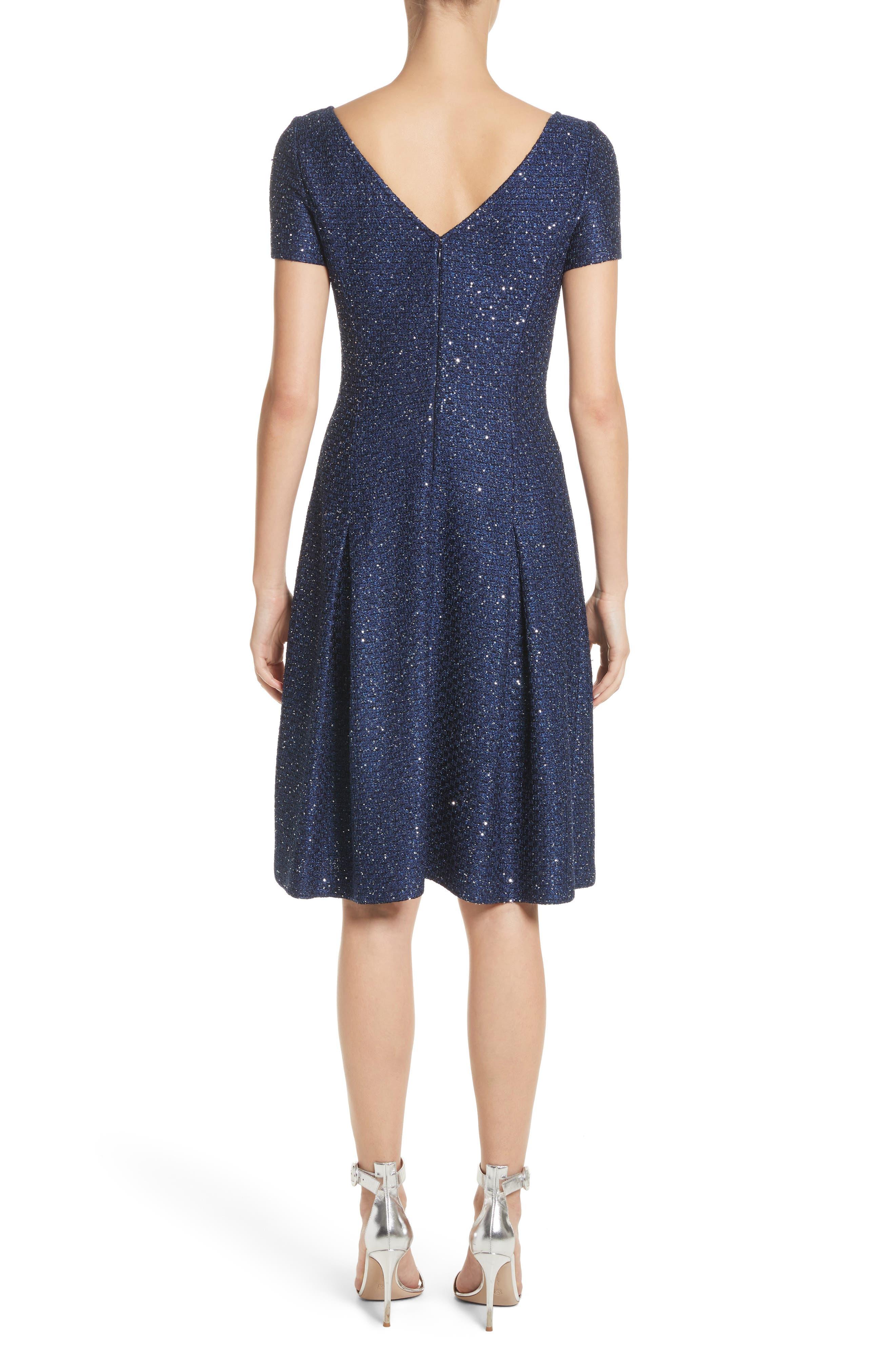 Sparkle Sequin Knit Fit & Flare Dress,                             Alternate thumbnail 2, color,                             Navy Multi