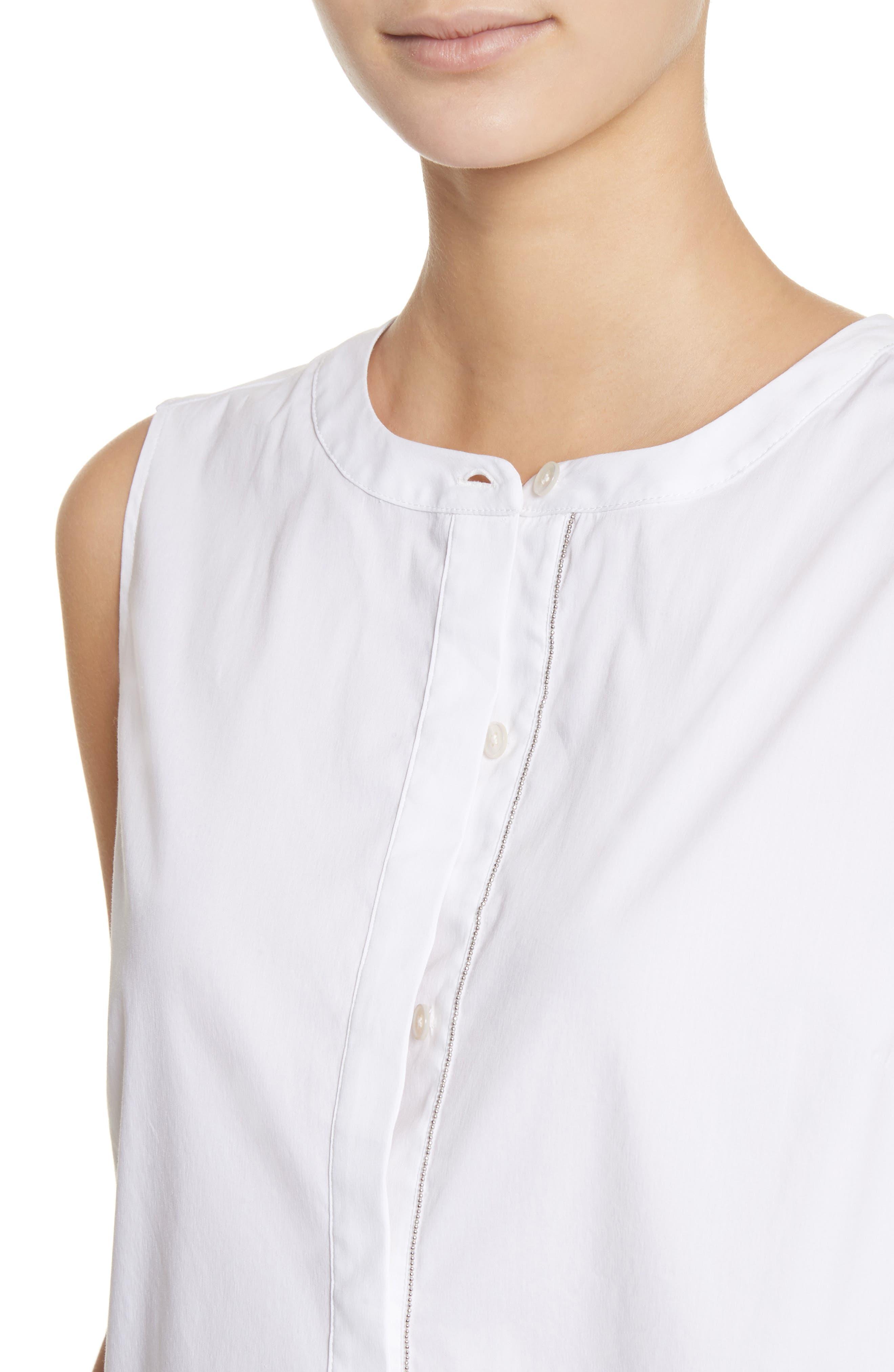 Stretch Shirting Sleeveless Top,                             Alternate thumbnail 5, color,                             Bianco