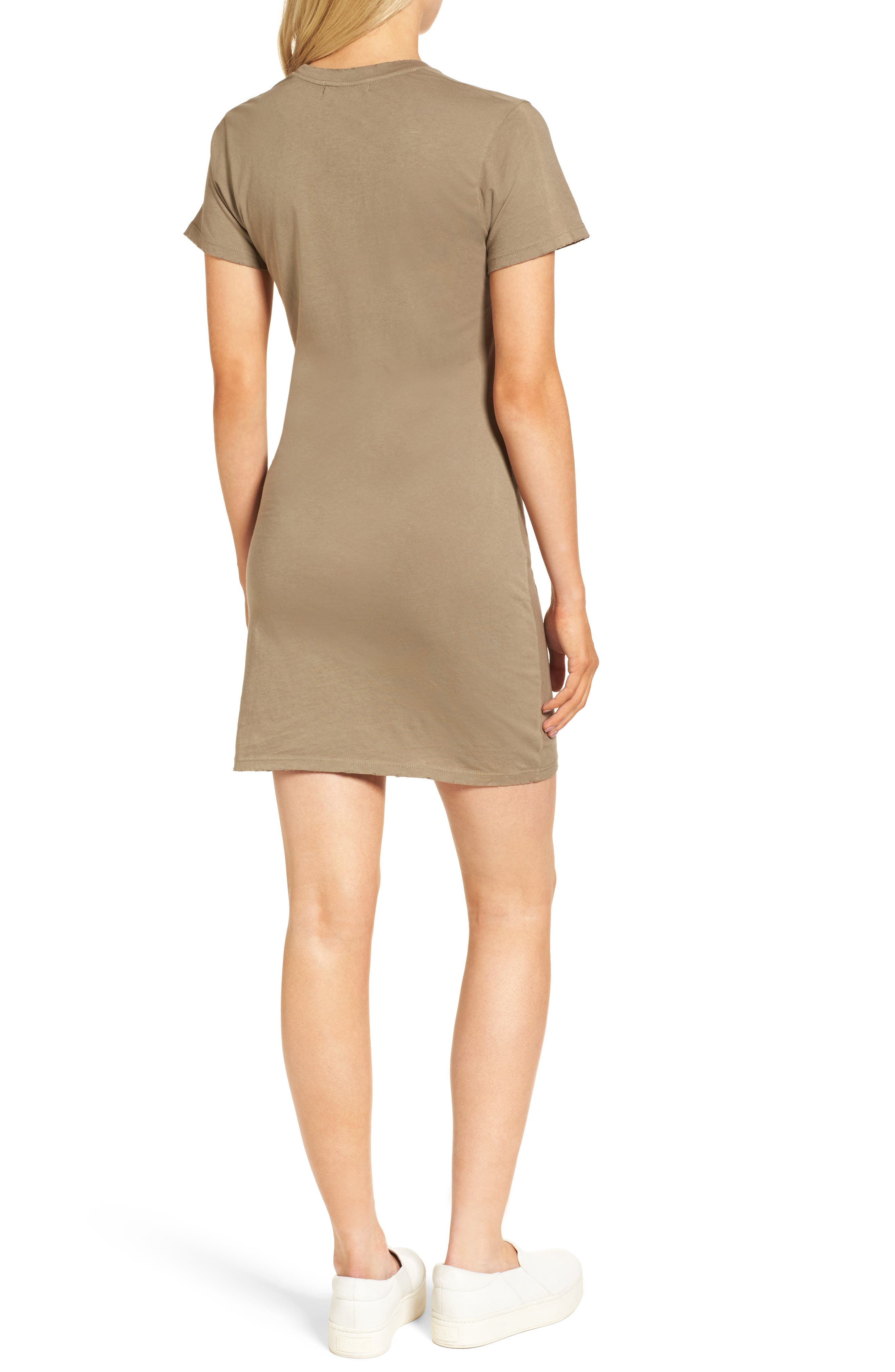 Jazz Knotted T-Shirt Dress,                             Alternate thumbnail 2, color,                             Army