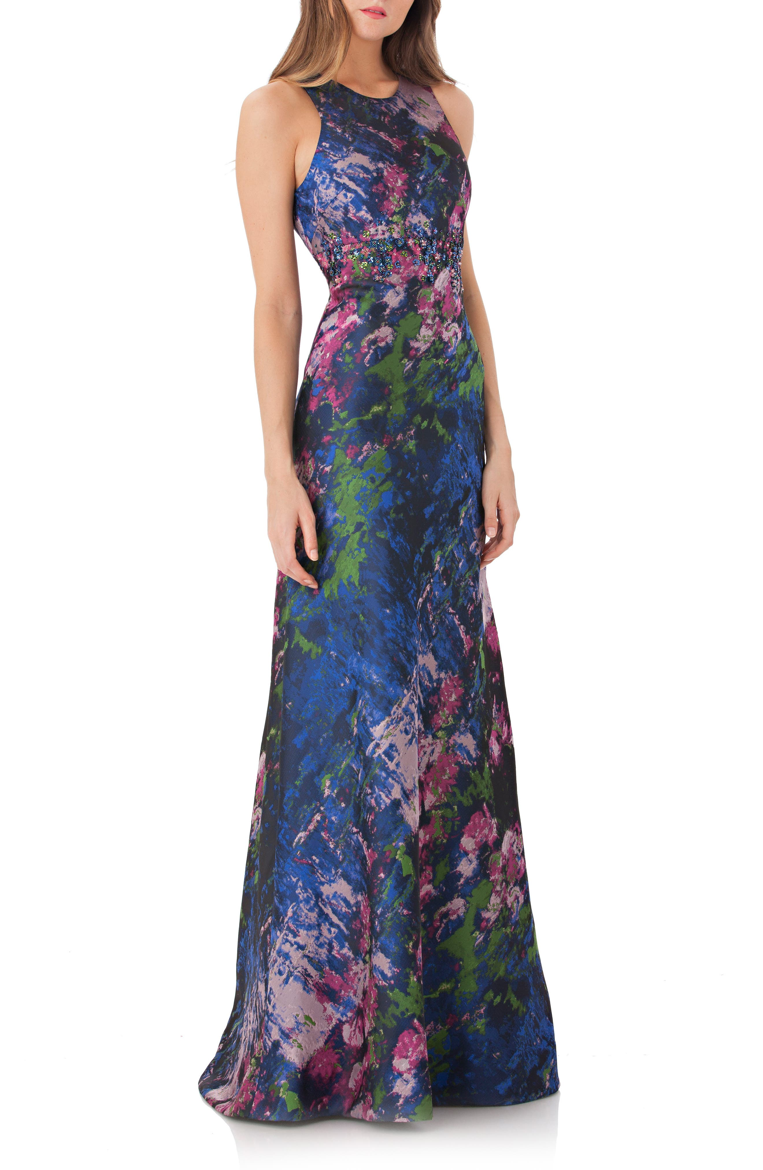 Brocade Gown,                             Main thumbnail 1, color,                             Navy/ Multi