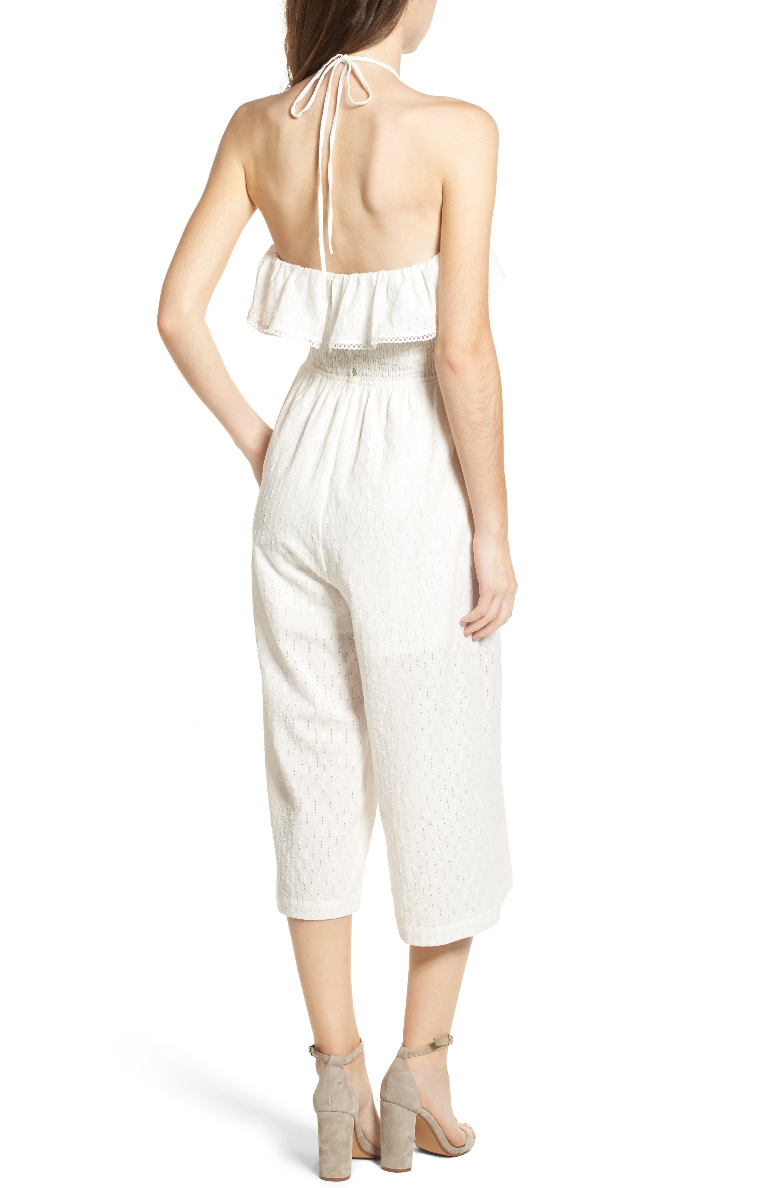 Coco Smocked Ruffle Off the Shoulder Jumpsuit,                             Alternate thumbnail 2, color,                             White