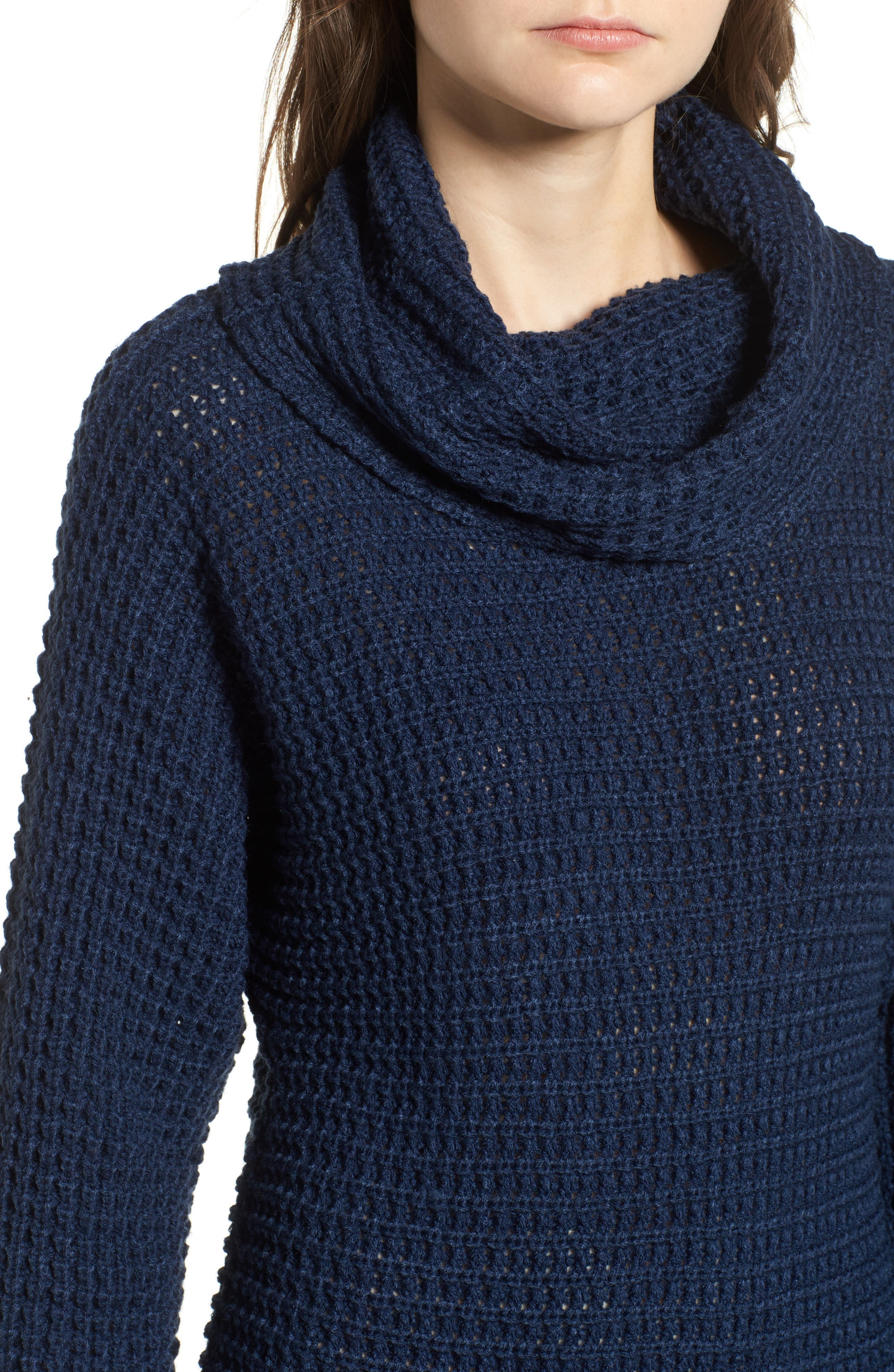 Turtleneck Sweater Dress,                             Alternate thumbnail 4, color,                             Navy