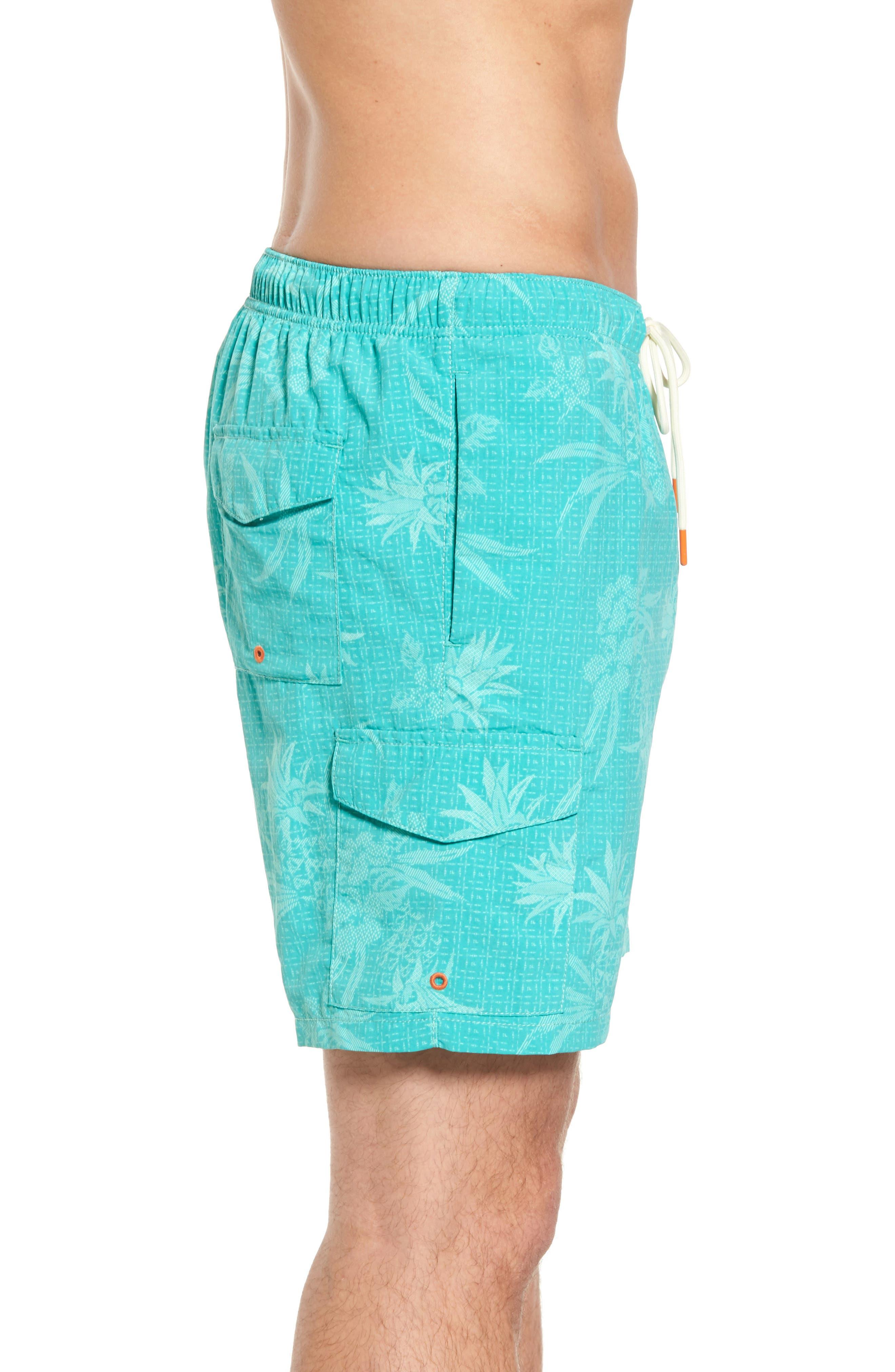 Naples Huli Pineapple Swim Trunks,                             Alternate thumbnail 3, color,                             Castaway Green