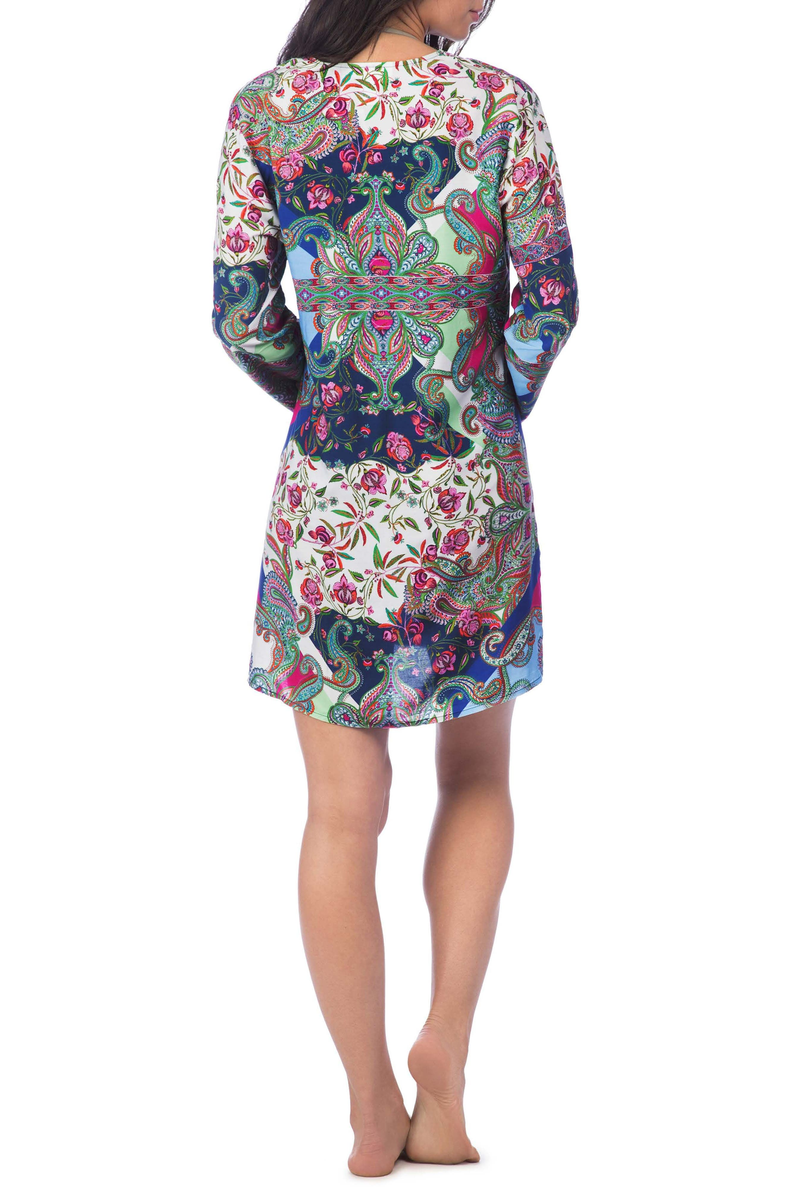 Scarf Gypsy Lace Front Cover-Up Tunic,                             Alternate thumbnail 2, color,                             Navy Multi